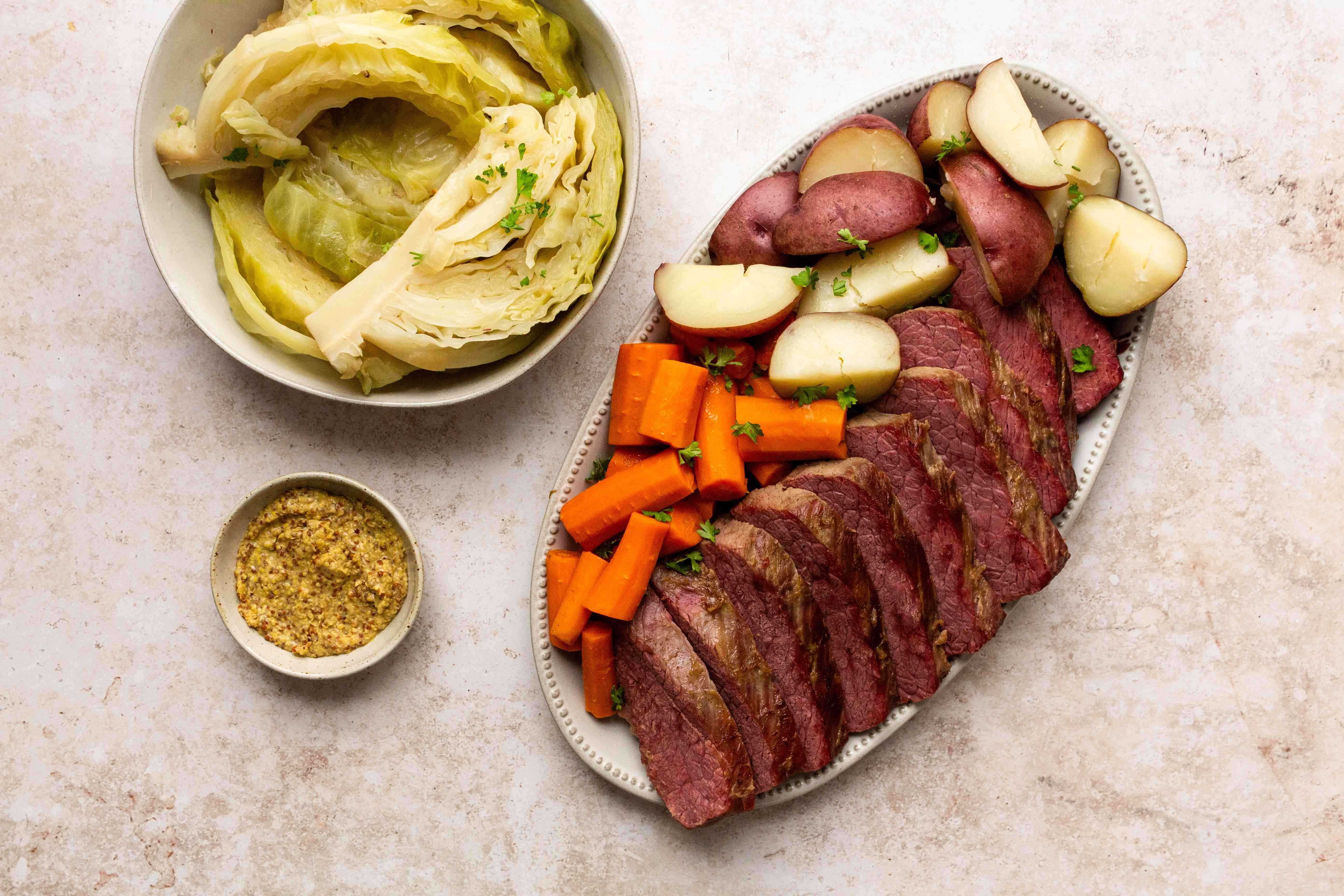 Instant Pot Corned Beef and Cabbage, served with potatoes and carrots