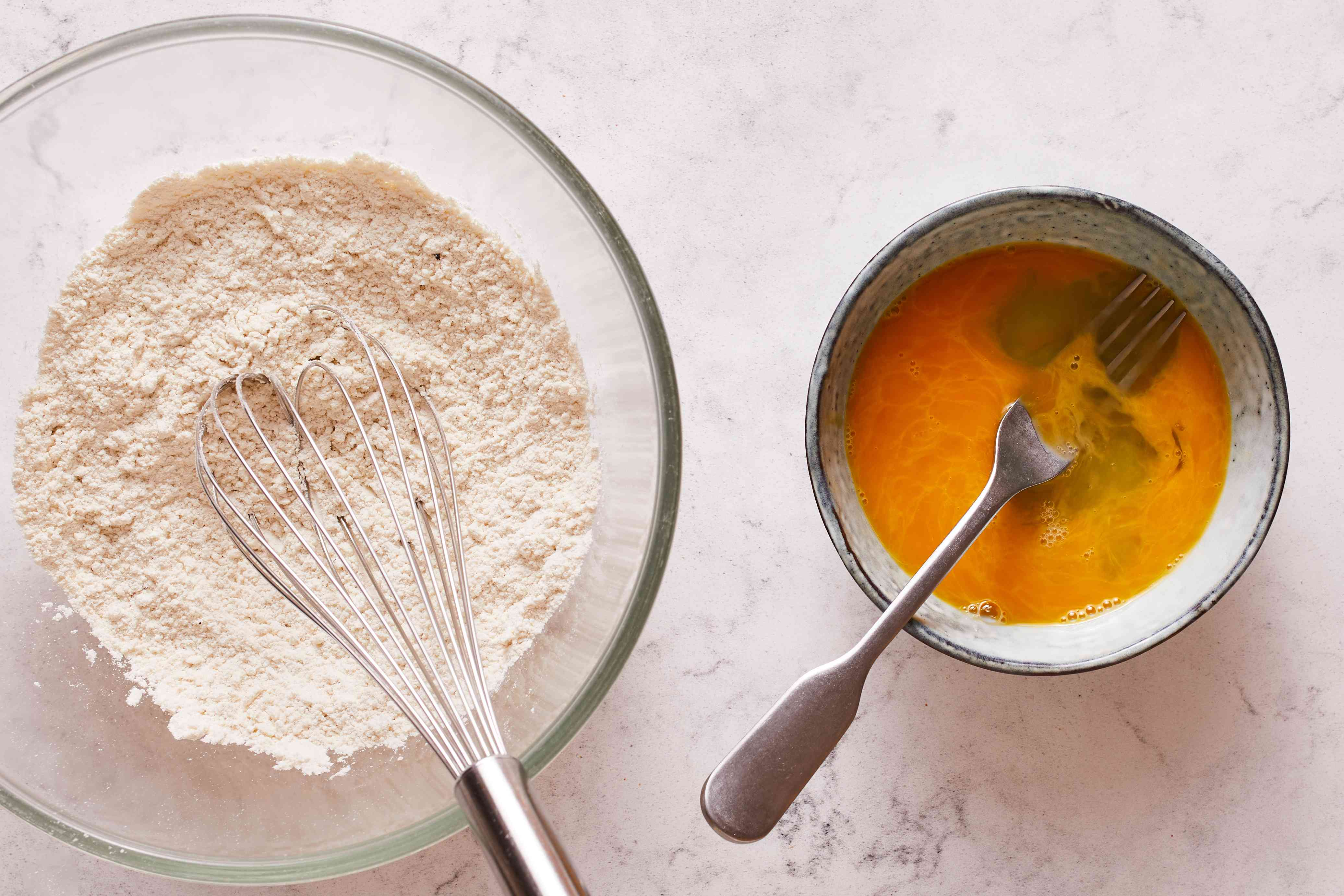 combine the flour, salt, baking powder, and pepper and mix, egg mixture in another bowl