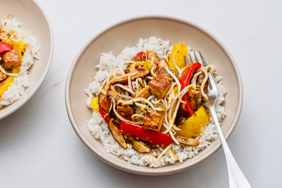 Vegan Stir-Fry With Hoisin Sauce and Coconut Rice