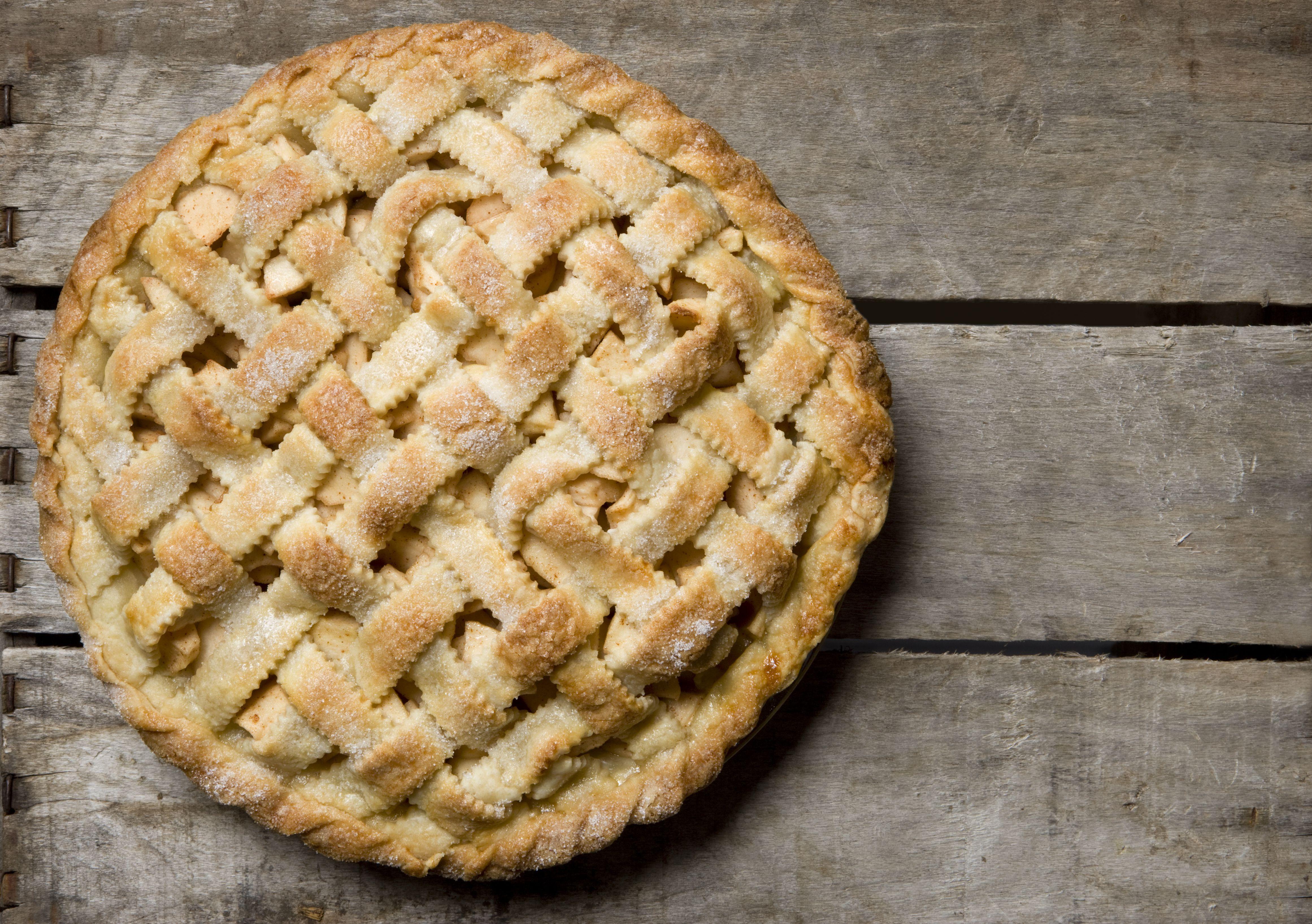 Homemade apple pie with lattice crust