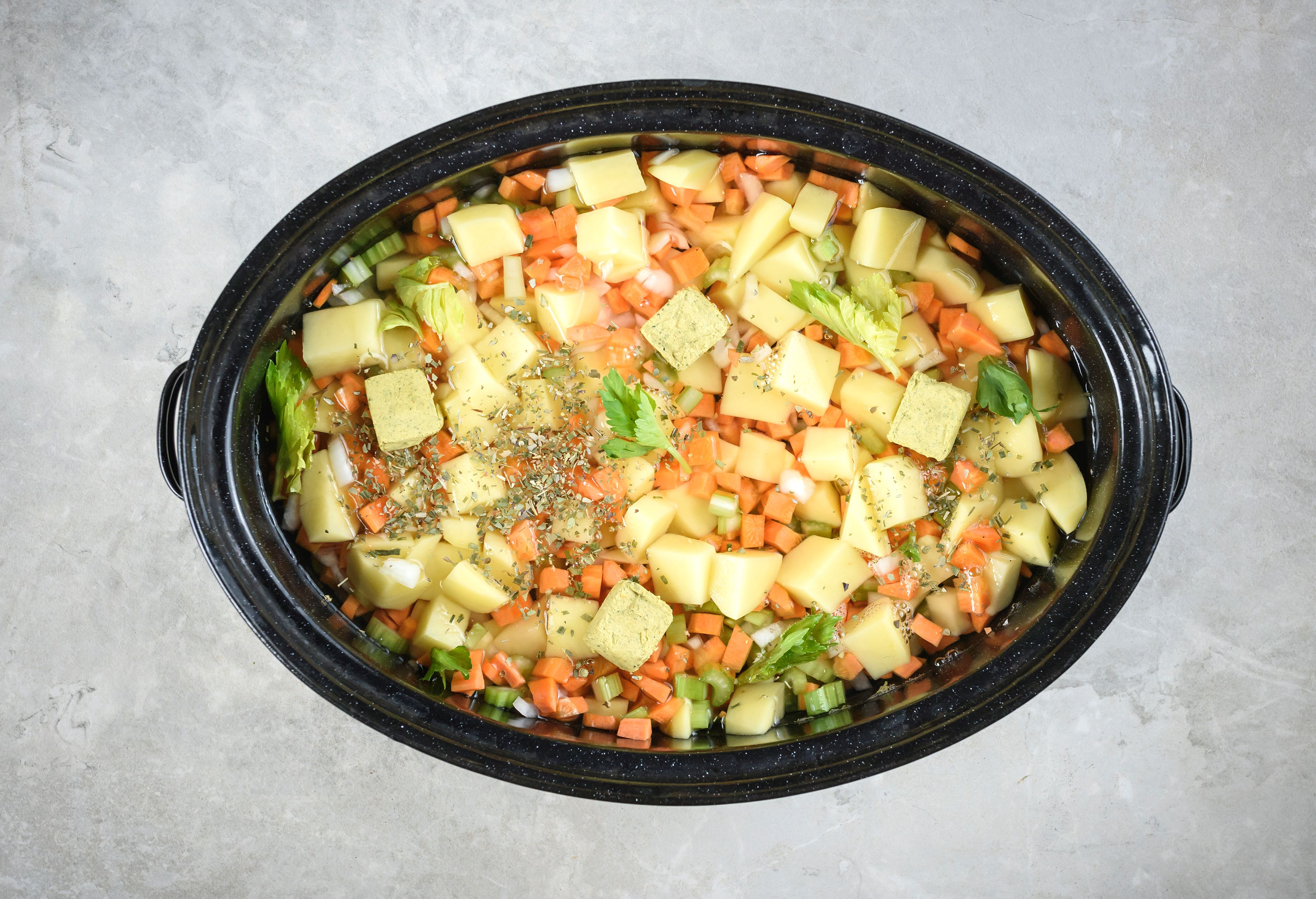 Combined soup ingredients in slow cooker