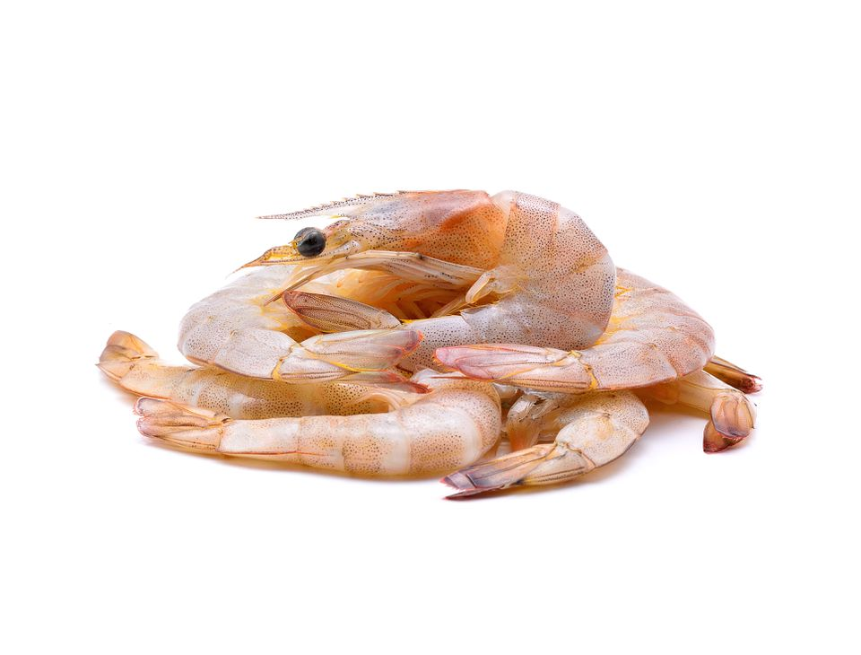 Close-Up Of Prawns Over White Background