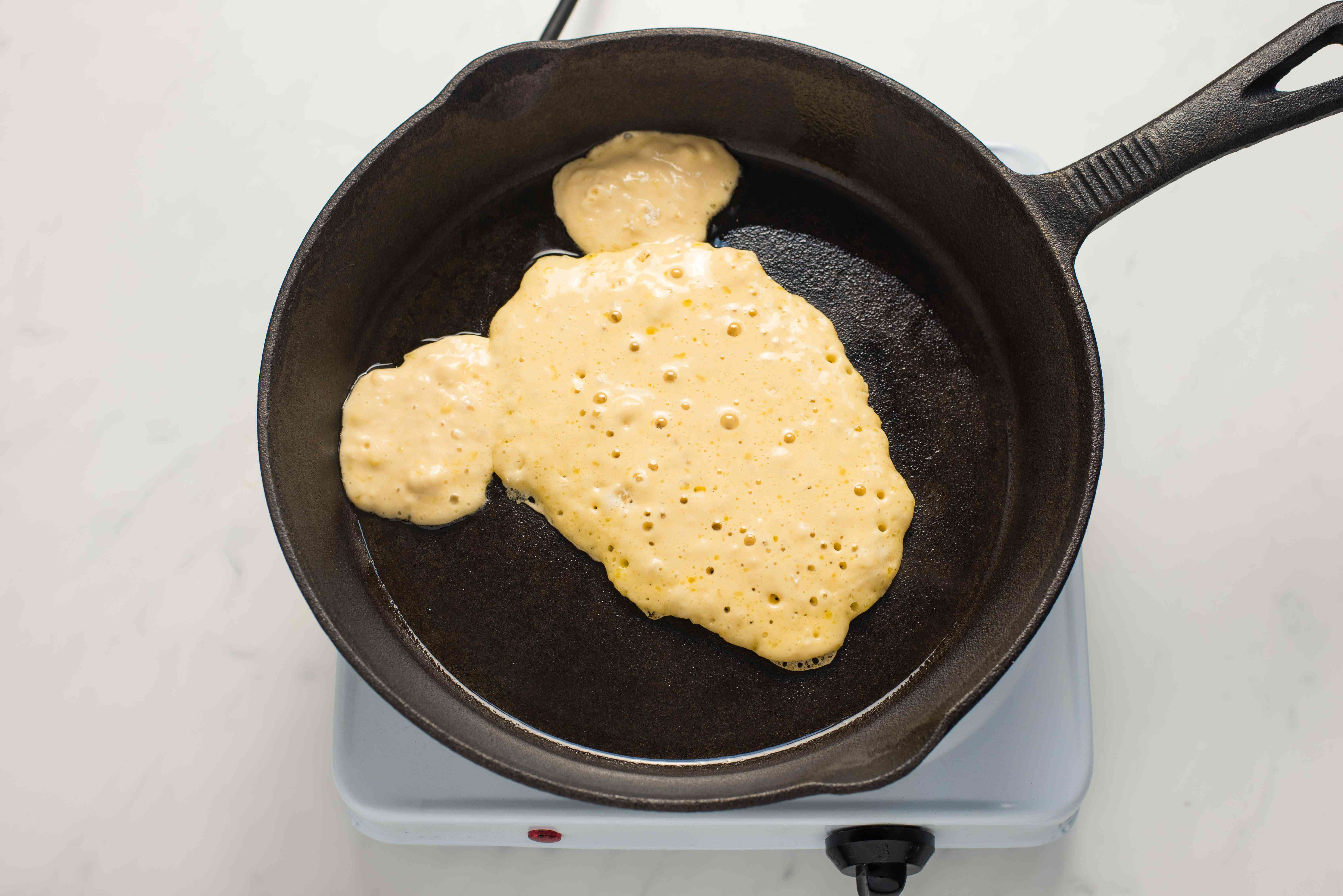 Pour batter on pan