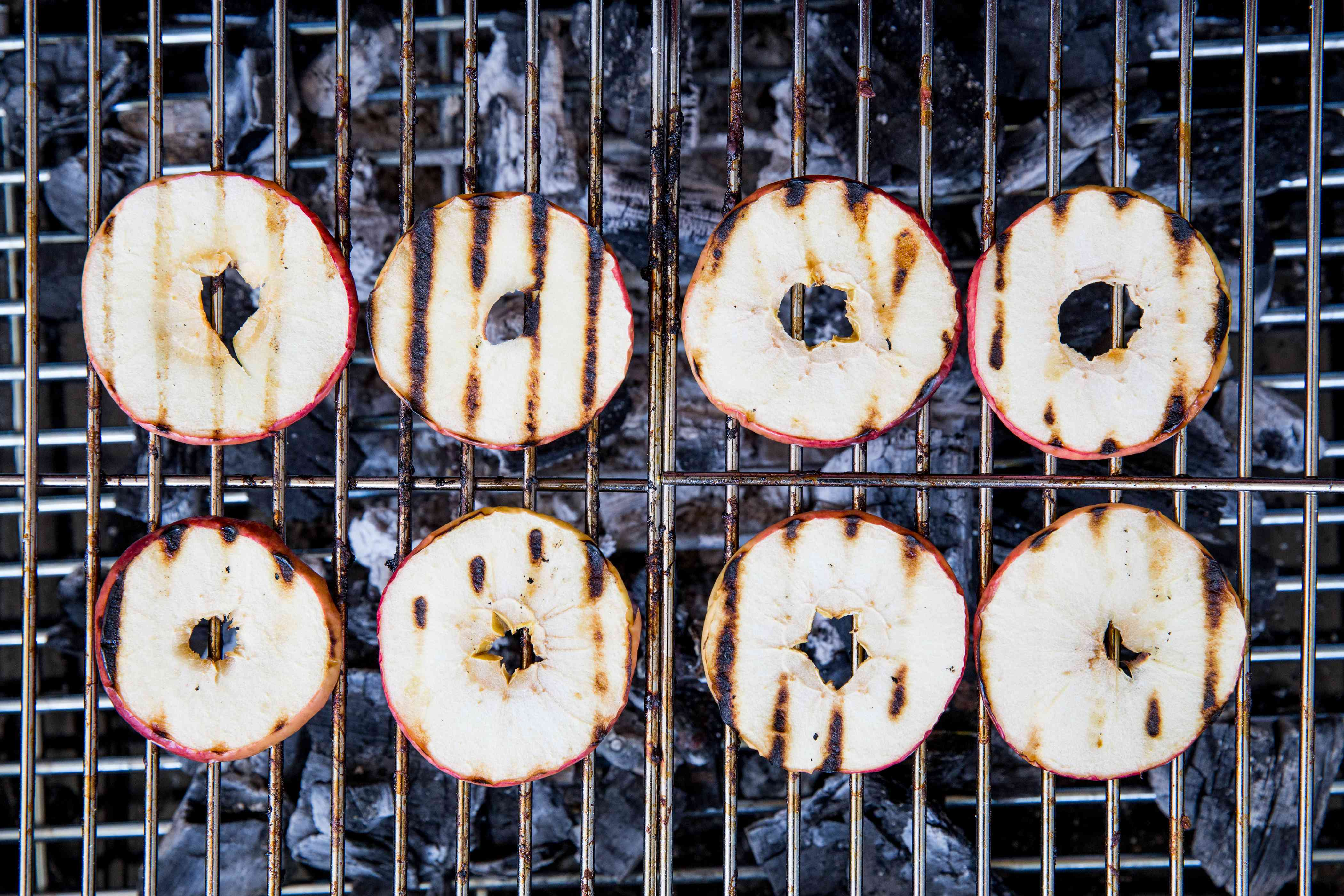Apple slices on a grill rack