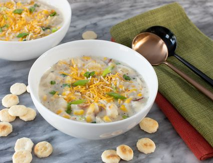 bowls of corn chowder with oyster crackers