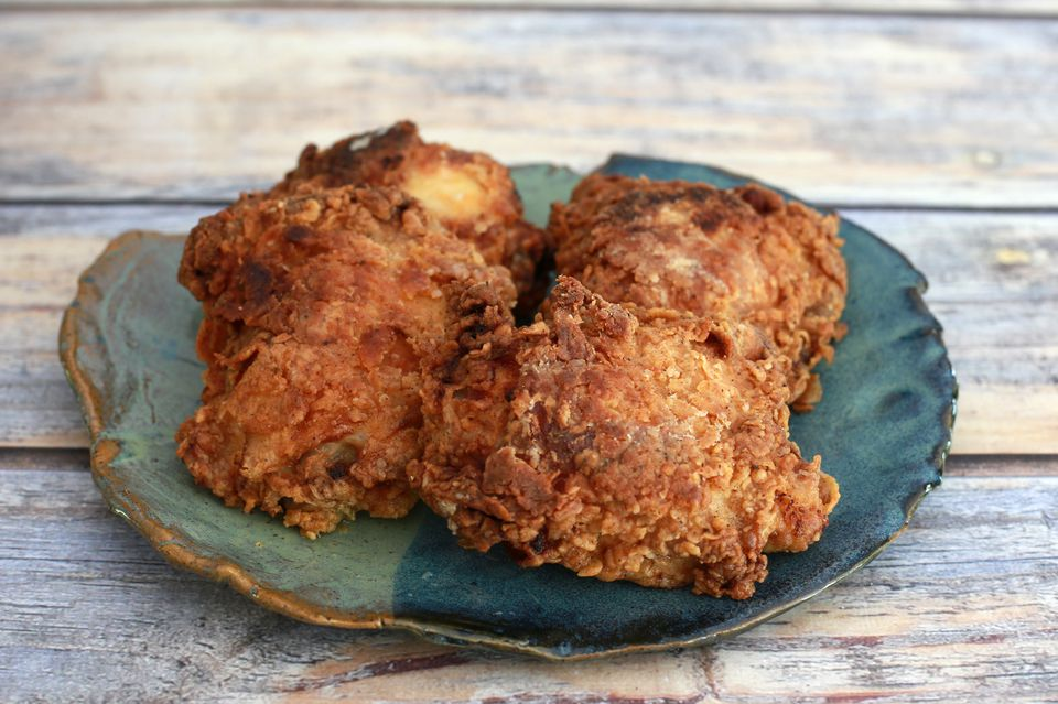 Oven-fried chicken thighs