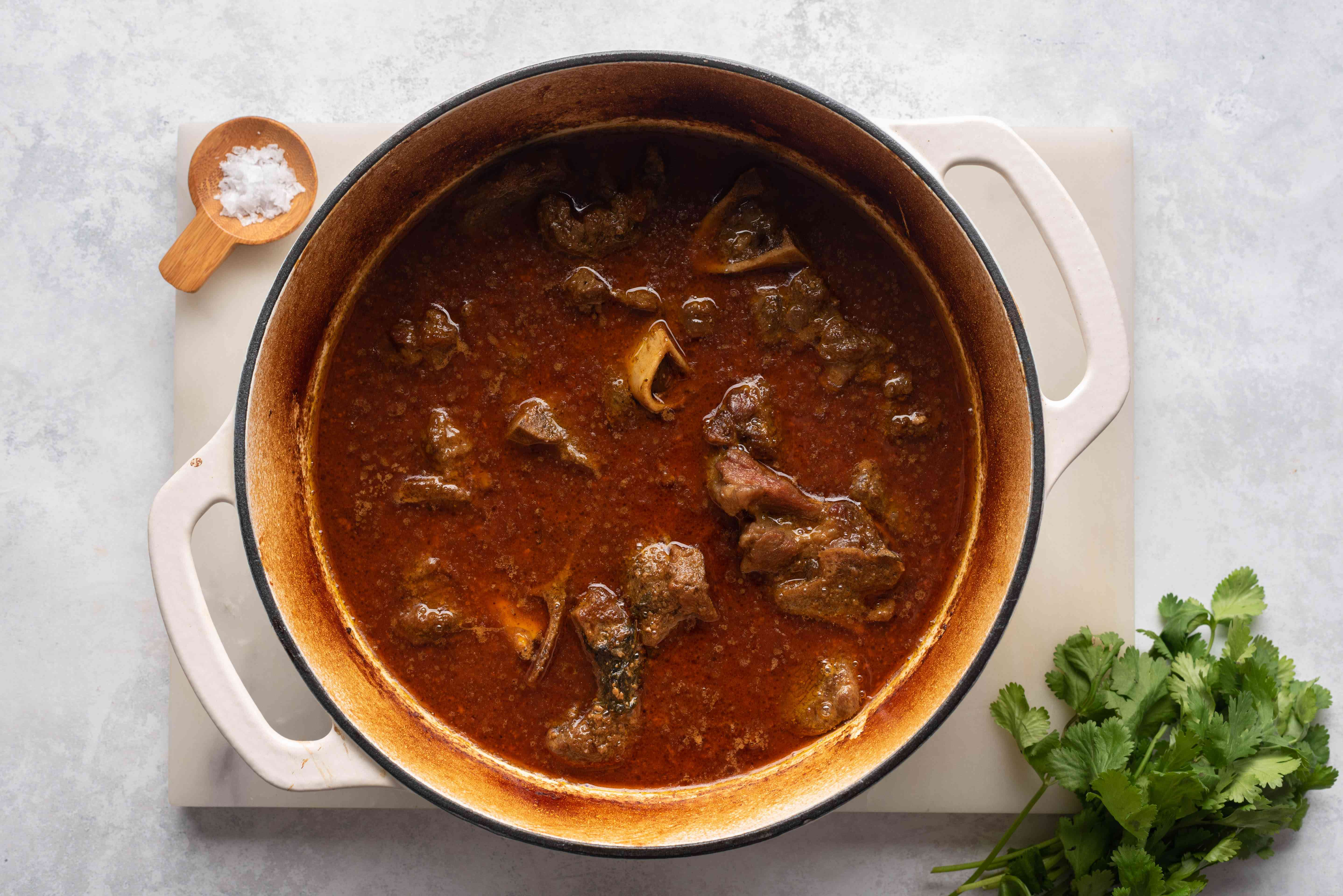 Moroccan Spiced Goat Stew in a pot