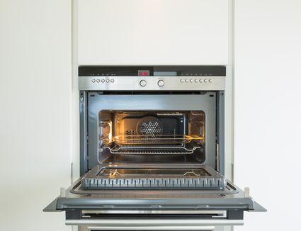 convection oven with door open