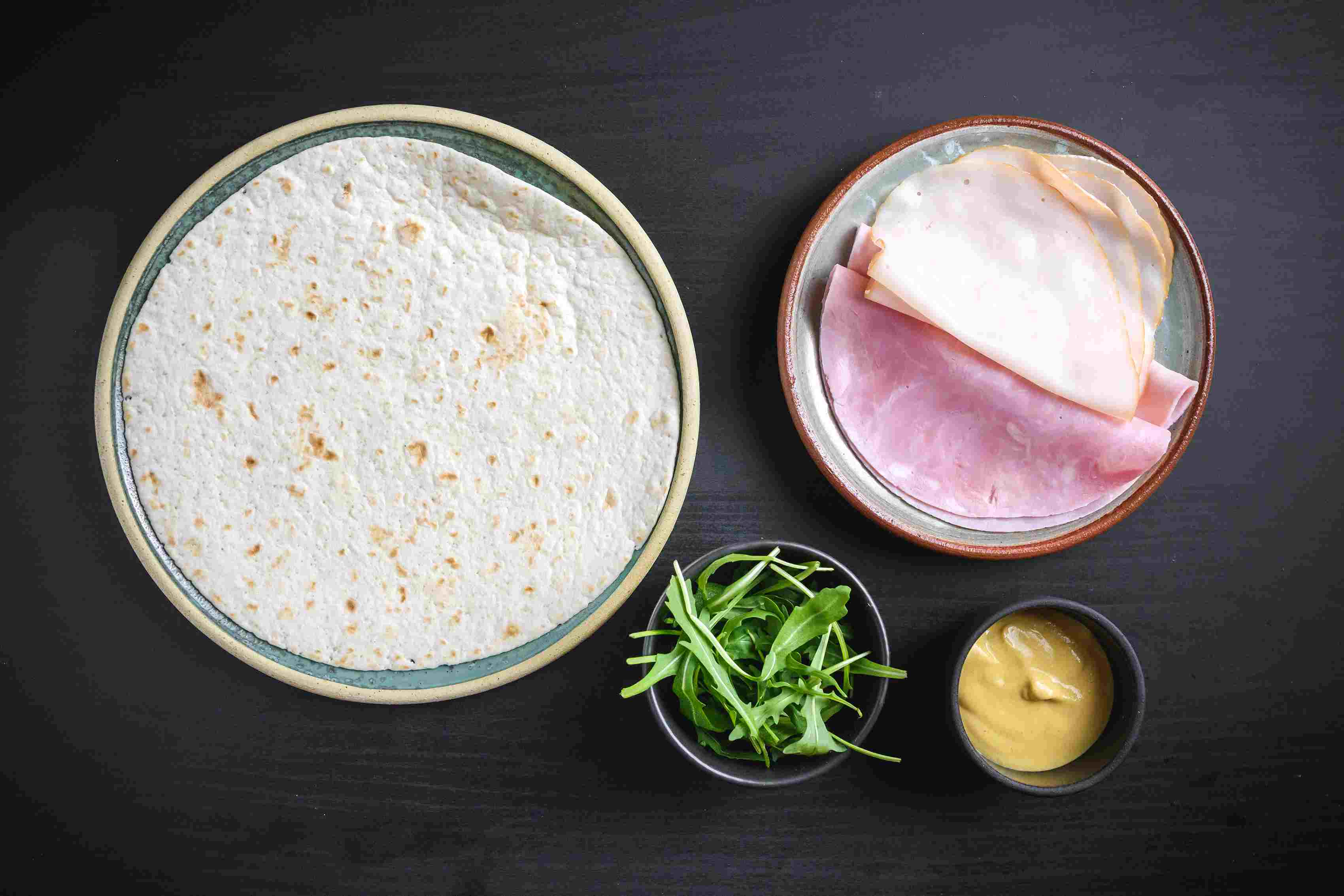 Ingredients for ham and turkey wrap