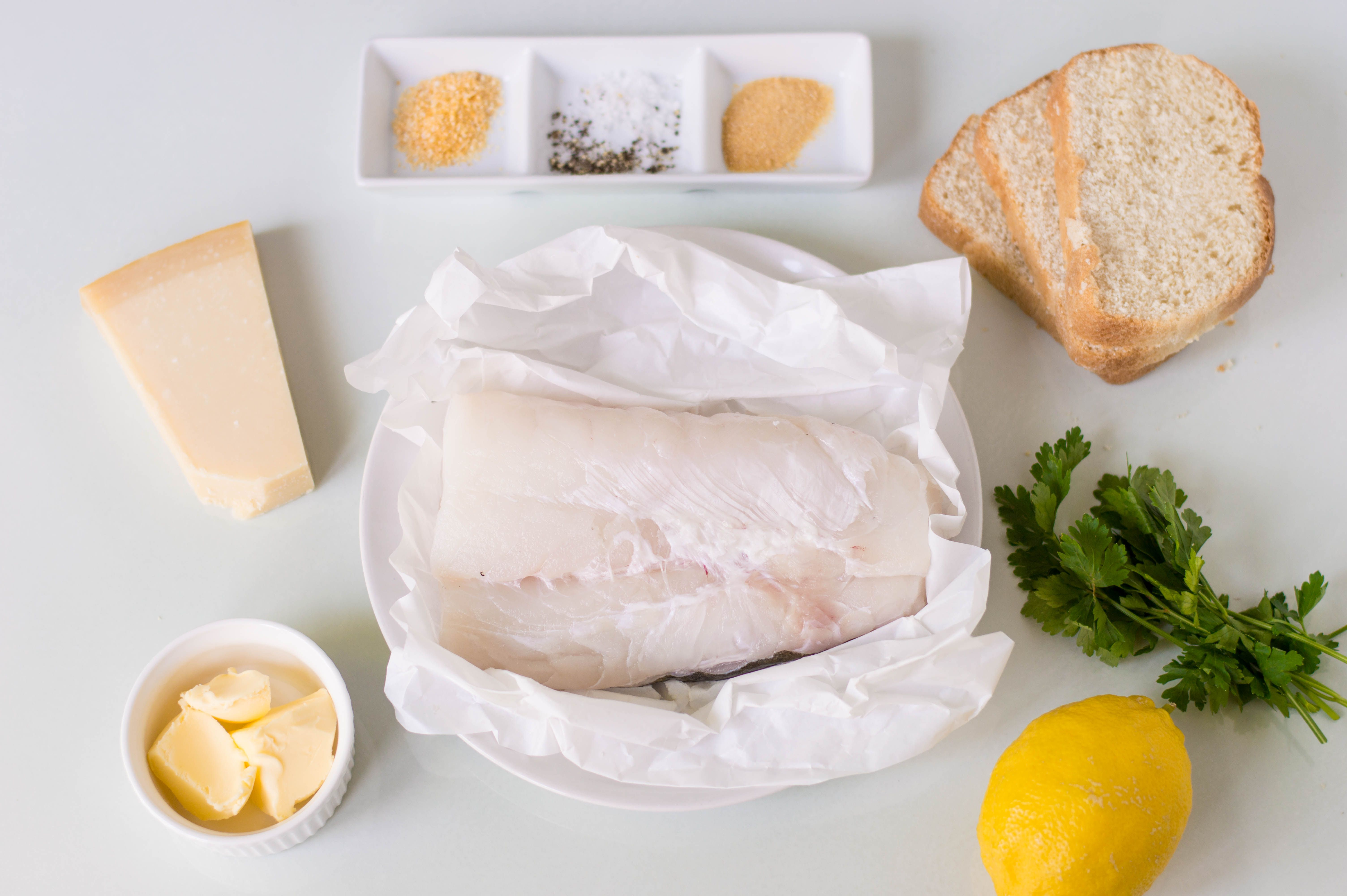 Ingredients for baked halibut with Parmesan topping