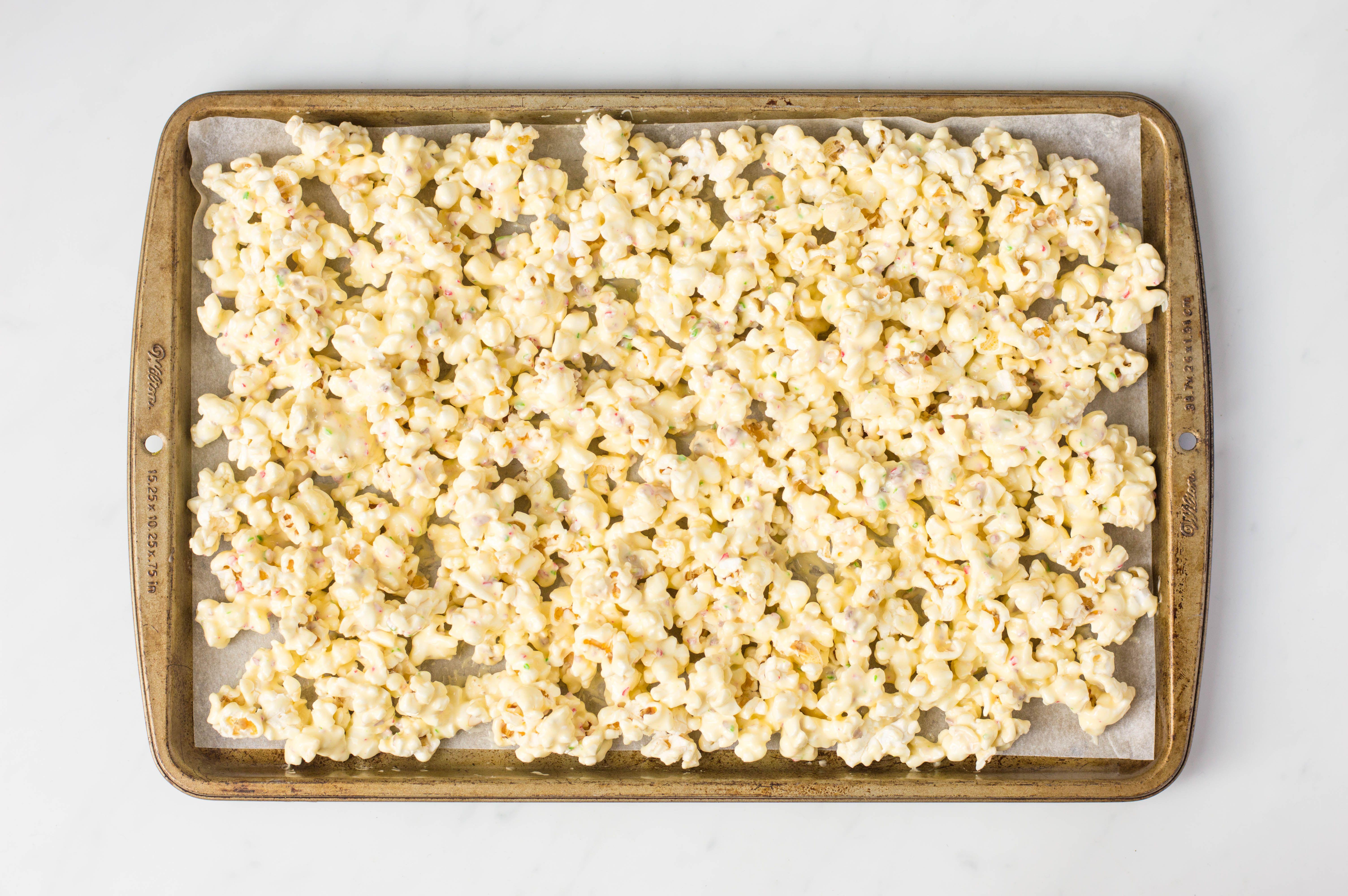 Popcorn on baking tray