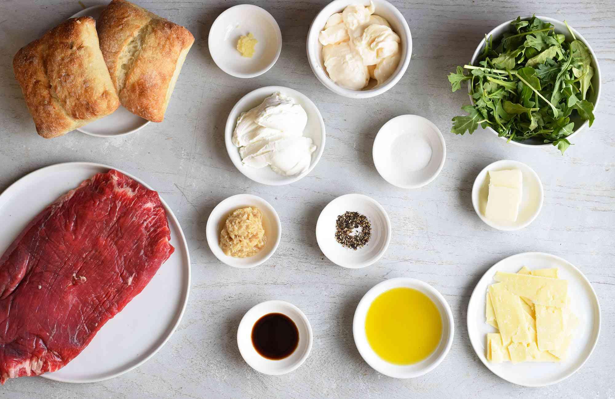 ingredients for steak sandwich