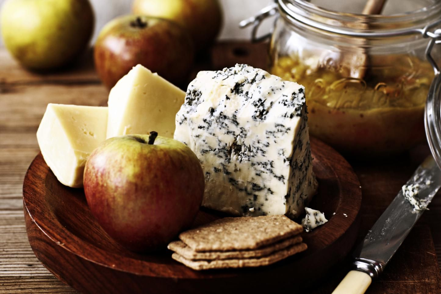 Cheese and chutney on table