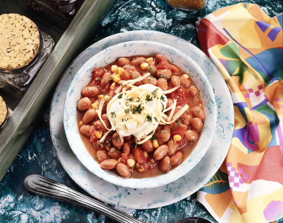 High angle view of beans in a bowl
