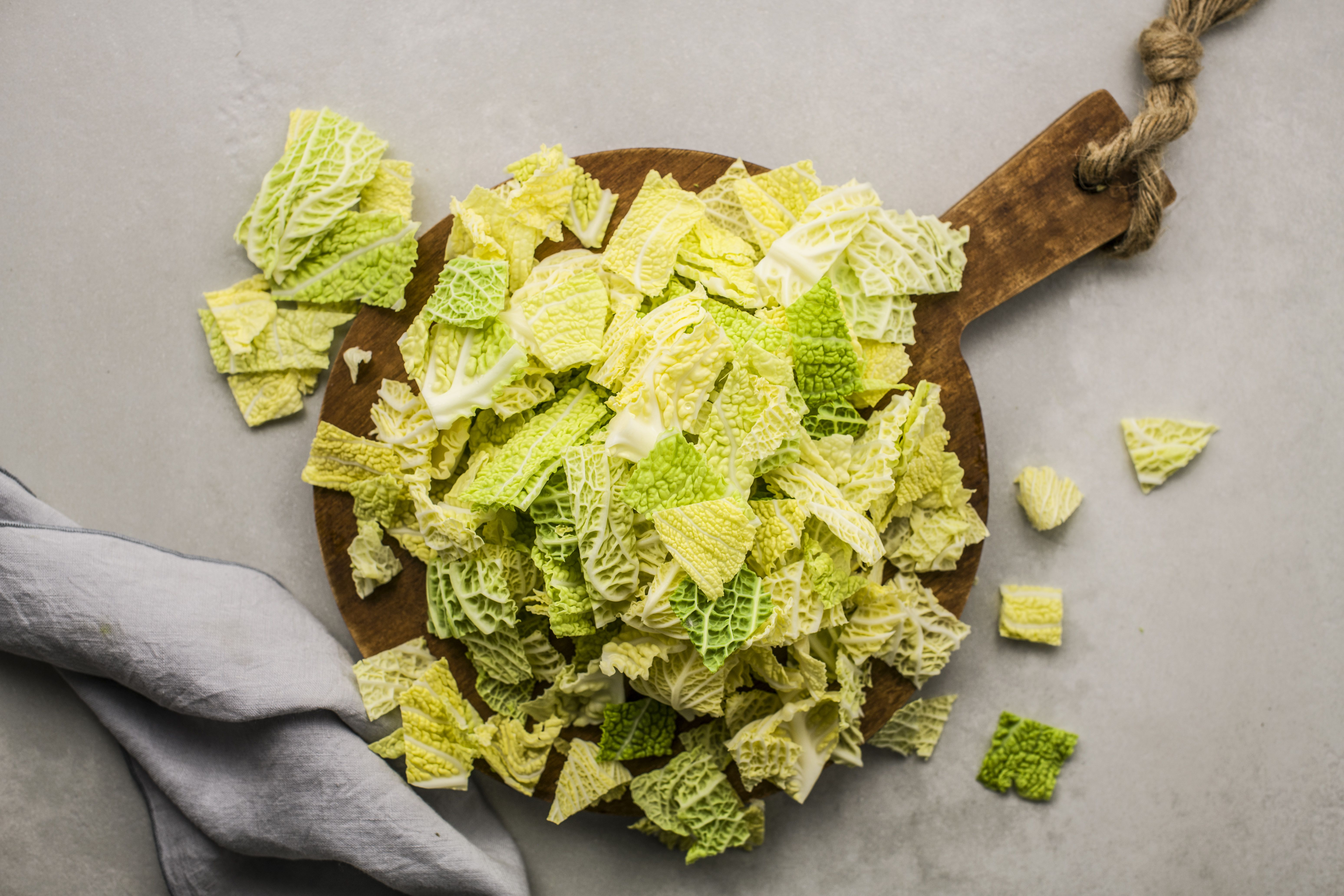 Chop cabbage into bite-sized pieces
