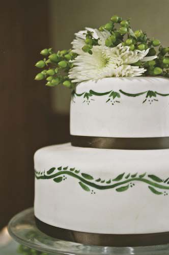 A Diy Wedding Cake With Painted Fondant