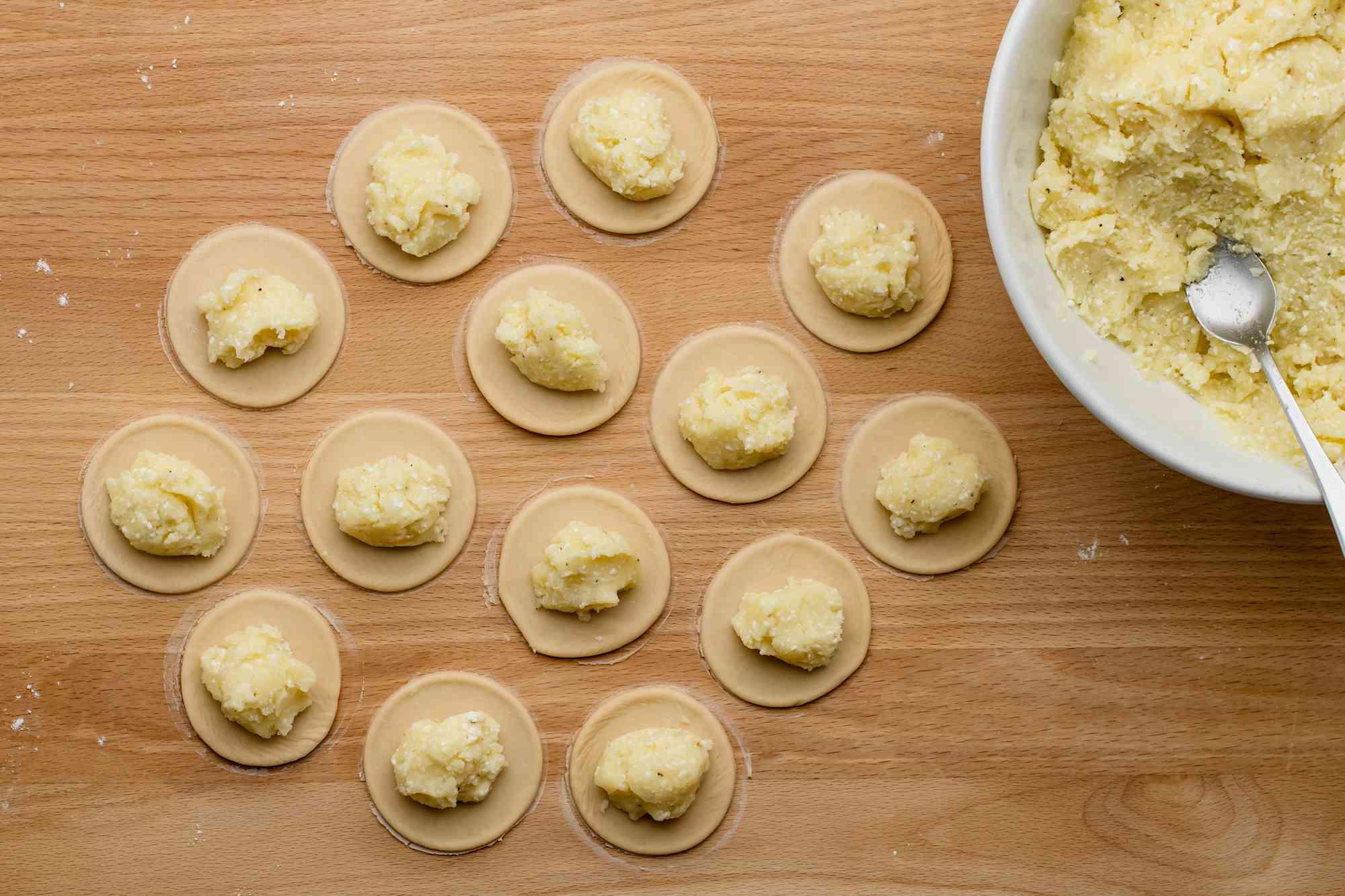 Put filling in dough