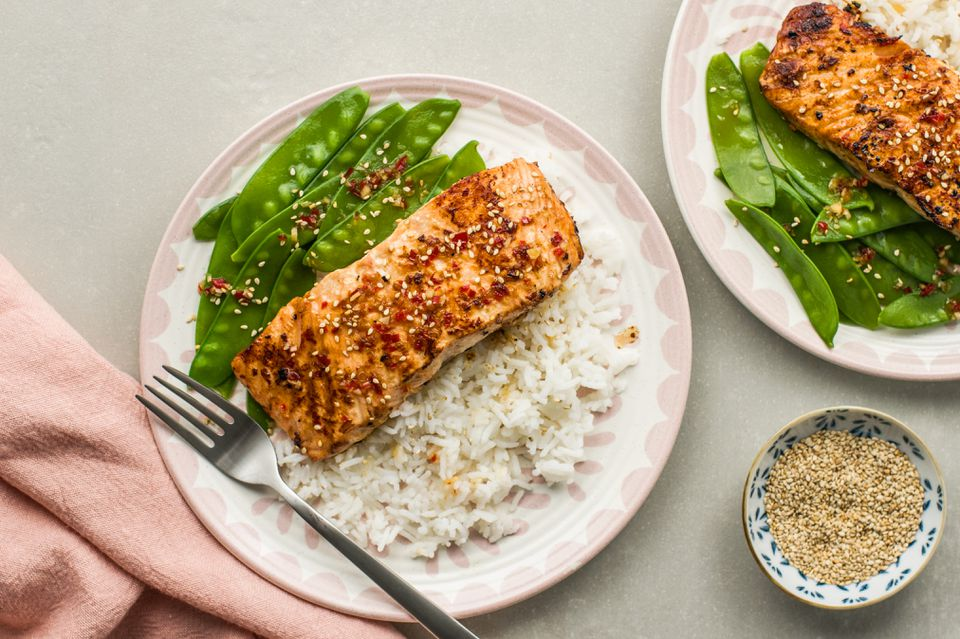 Pan fry salmon with tangy thai sauce