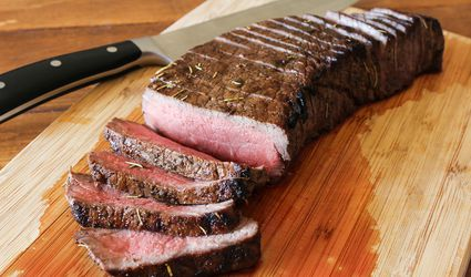 London broil on a cutting board