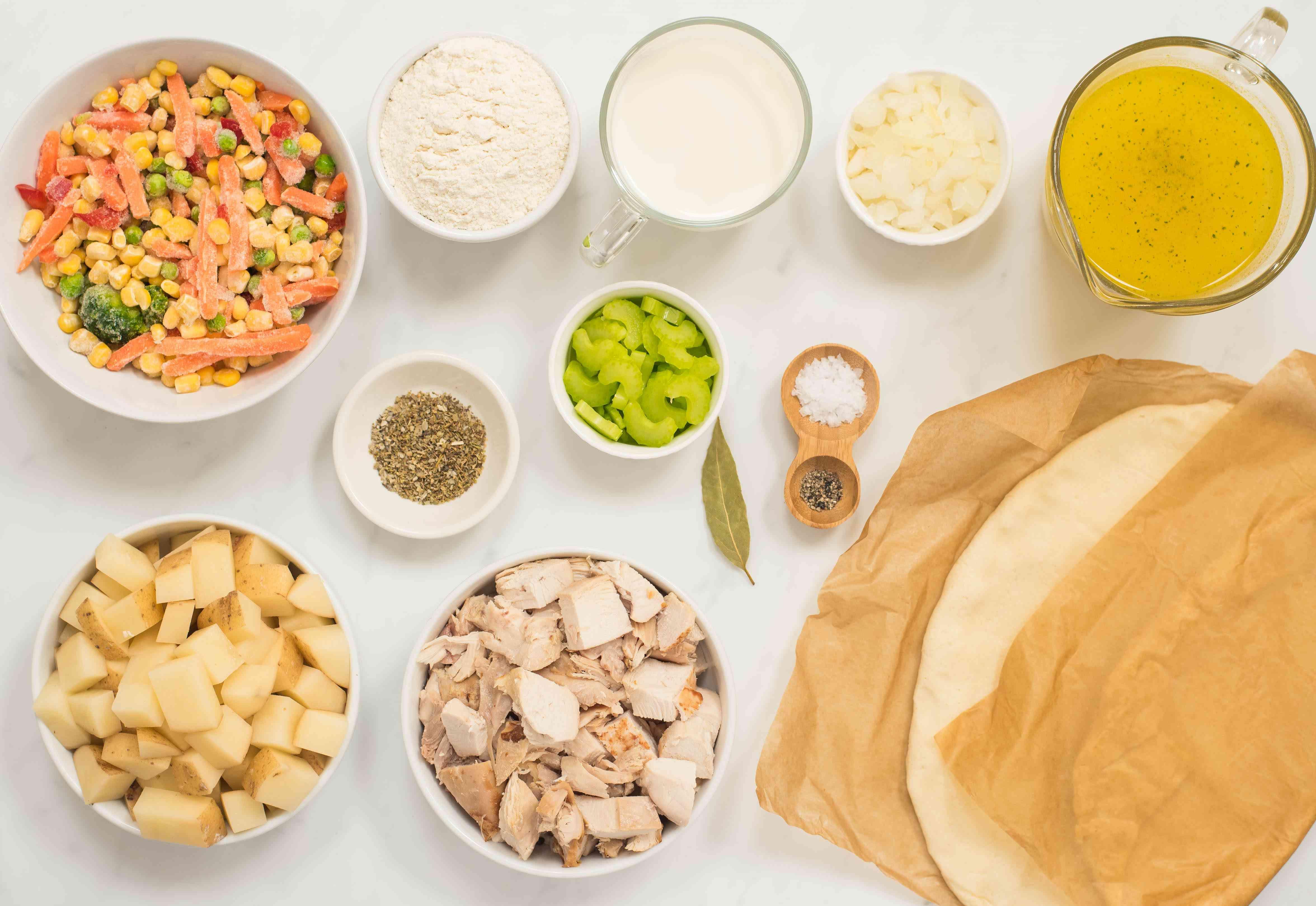 Ingredients for slow cooker chicken or turkey pie