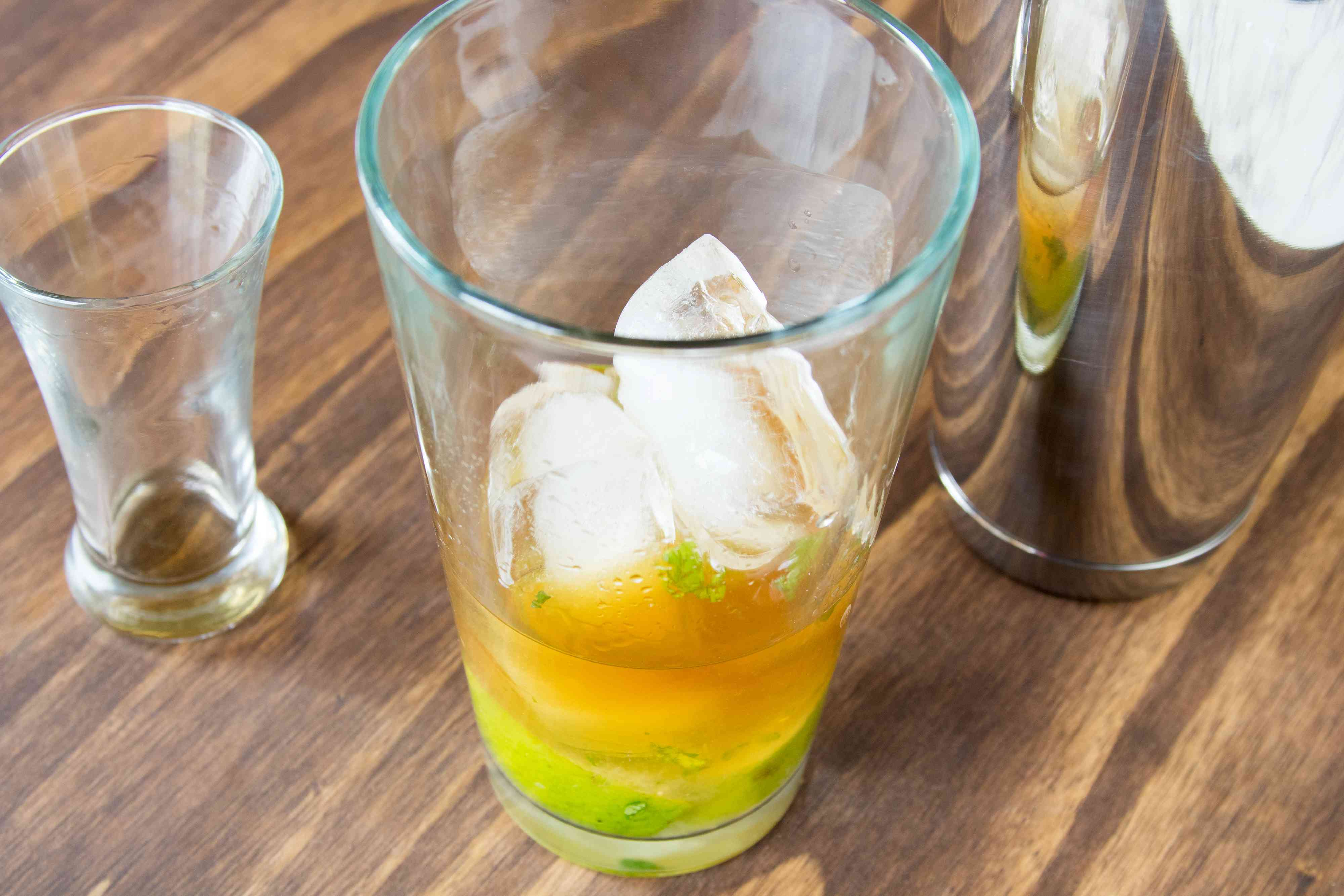 Mixing a Whiskey Cider Julep Cocktail