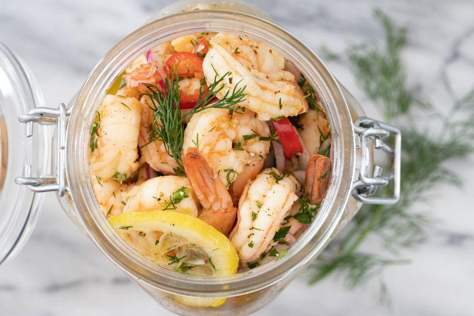 pickled shrimp in a large jar