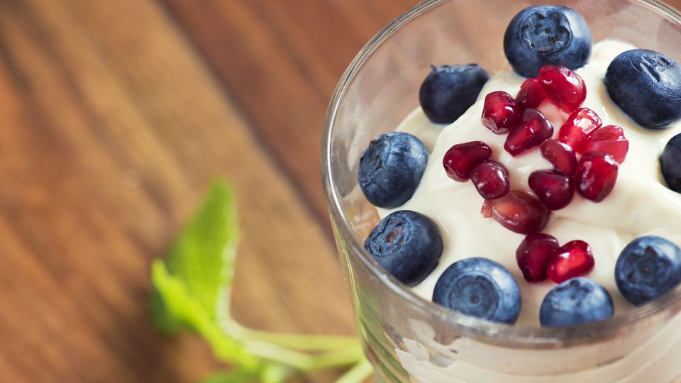 yogurt topped with fruit