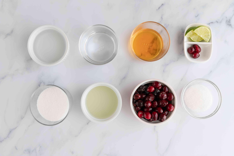 Ingredients for winter cranberry margarita