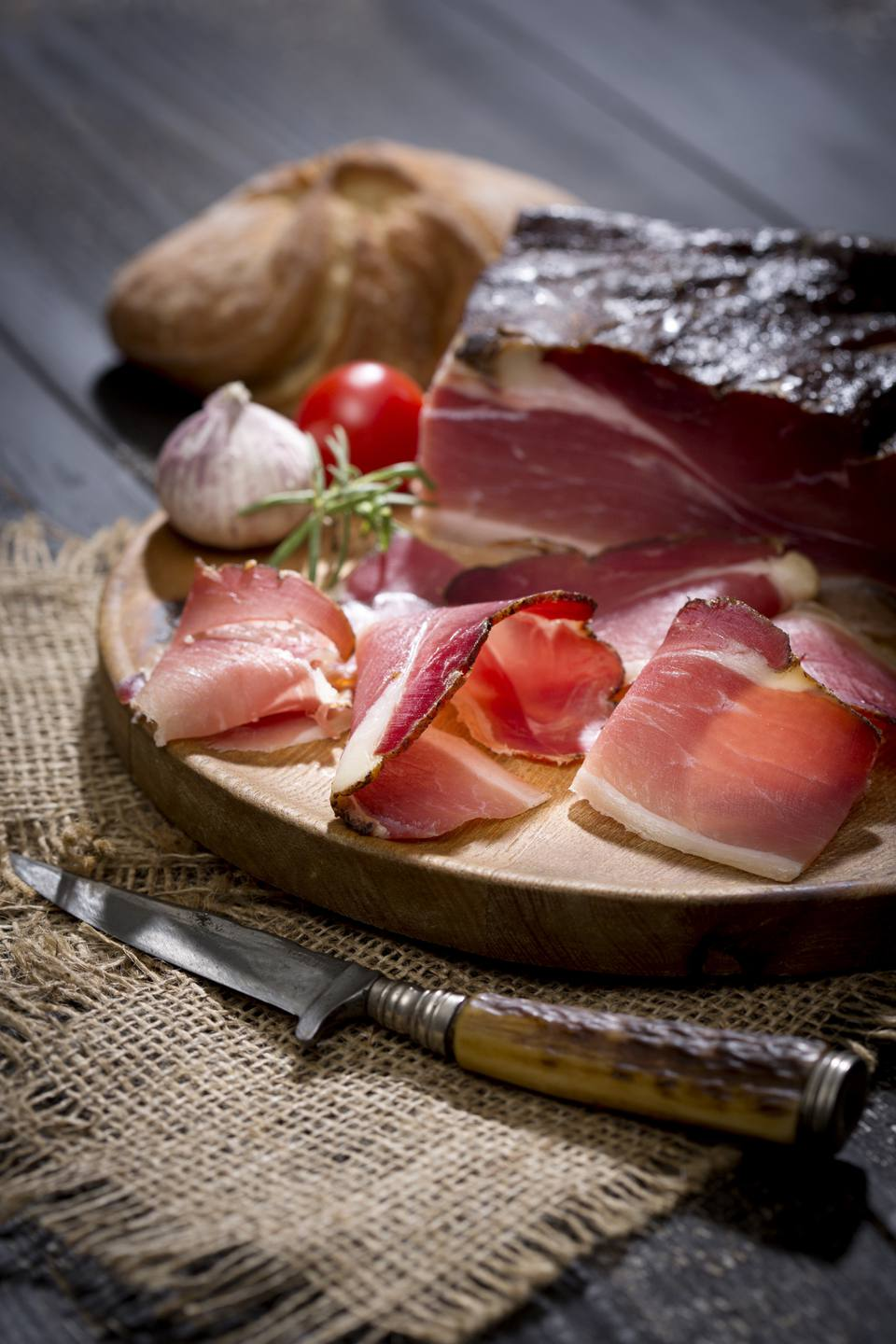 A tray of sliced speck