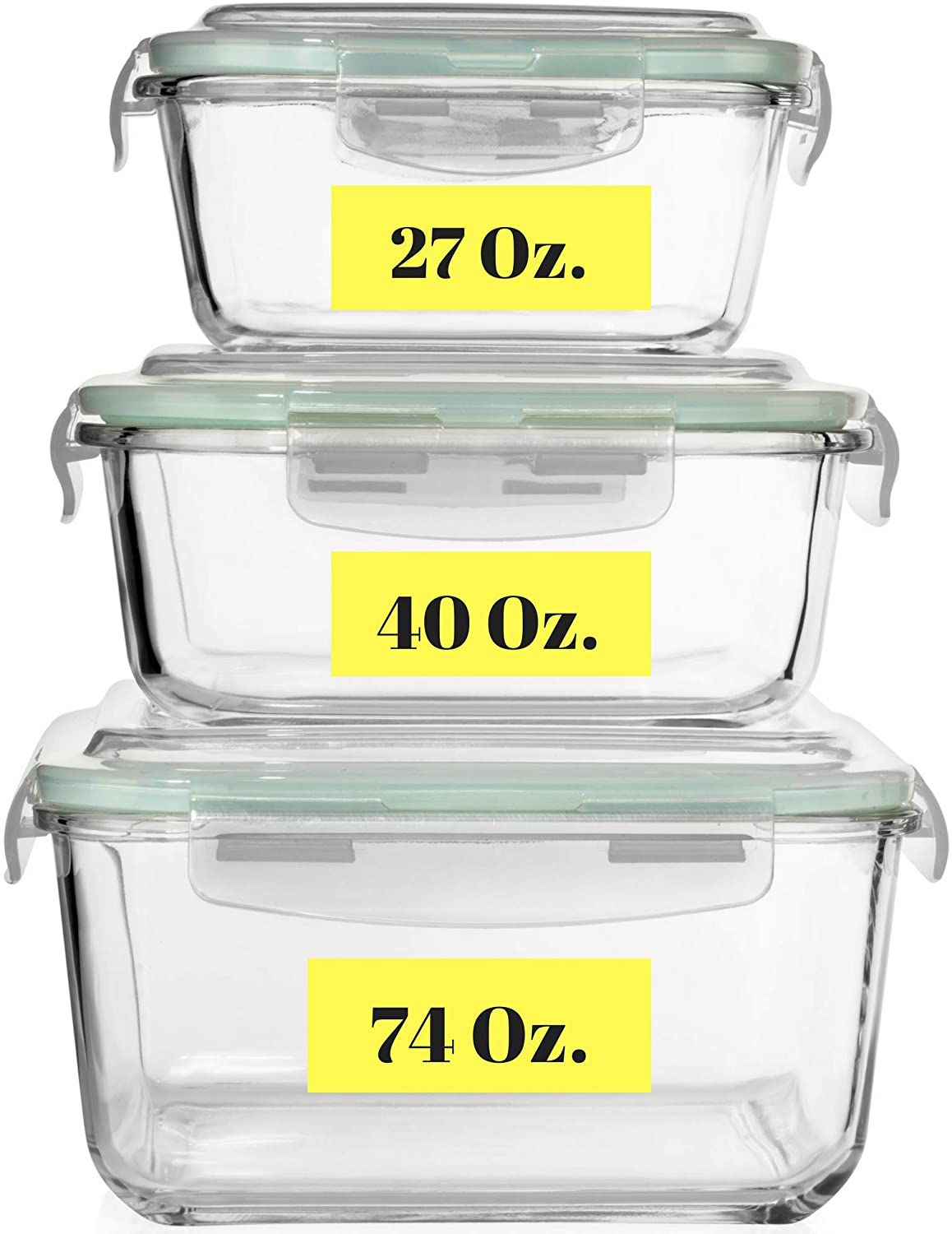 Razab HomeGoods Extra Large Glass Food Storage Containers with Airtight Lids