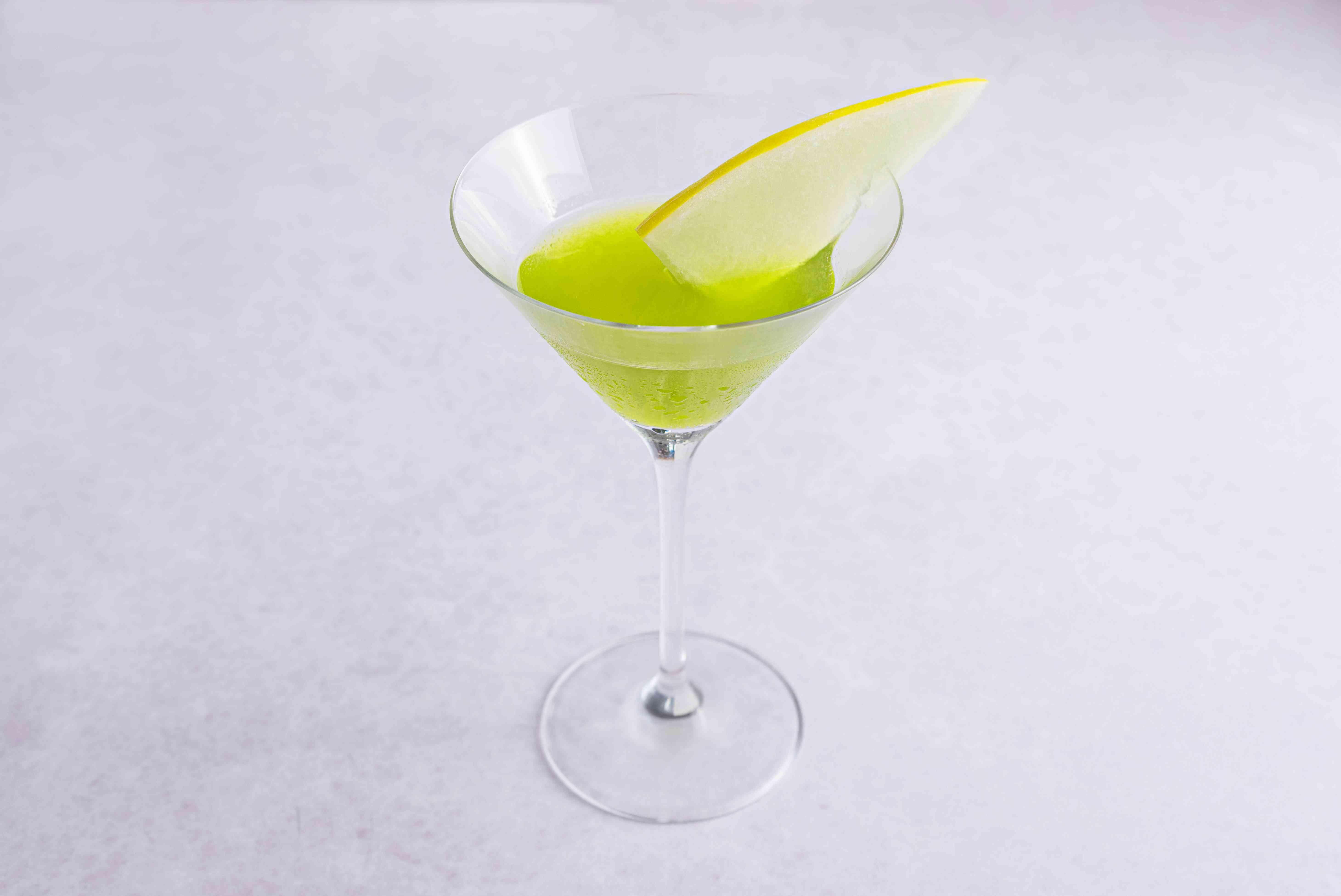 Japanese Slipper Cocktail with honeydew melon garnish