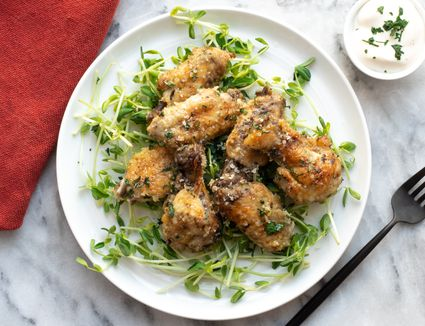 Parmesan garlic chicken wings with dip.