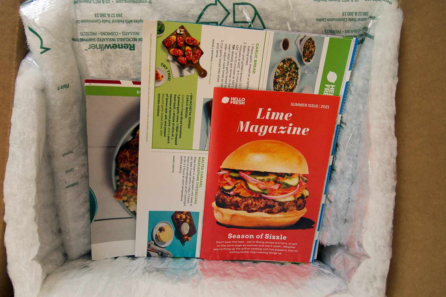 HelloFresh packaging and extra material