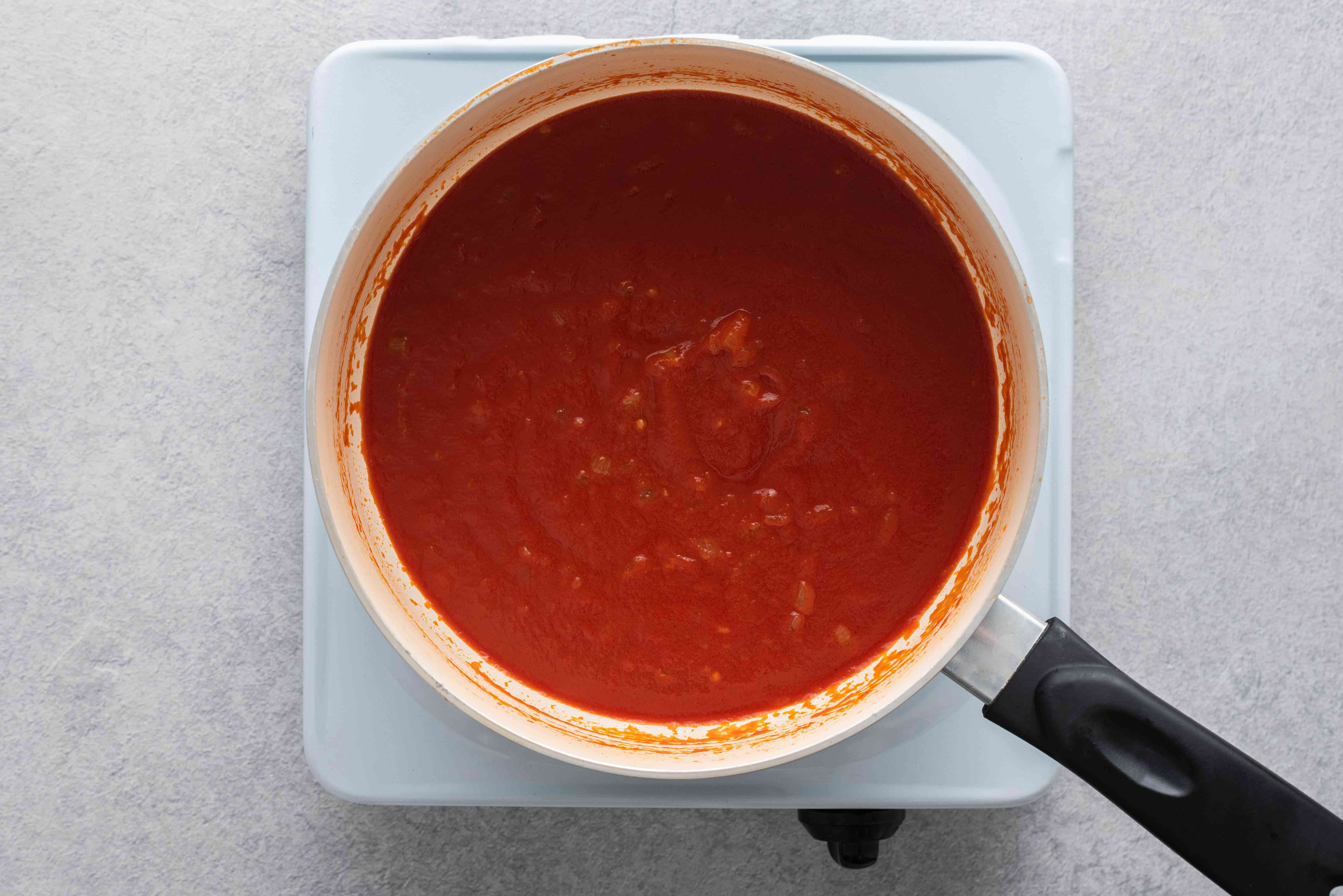 tomato sauce in a pot