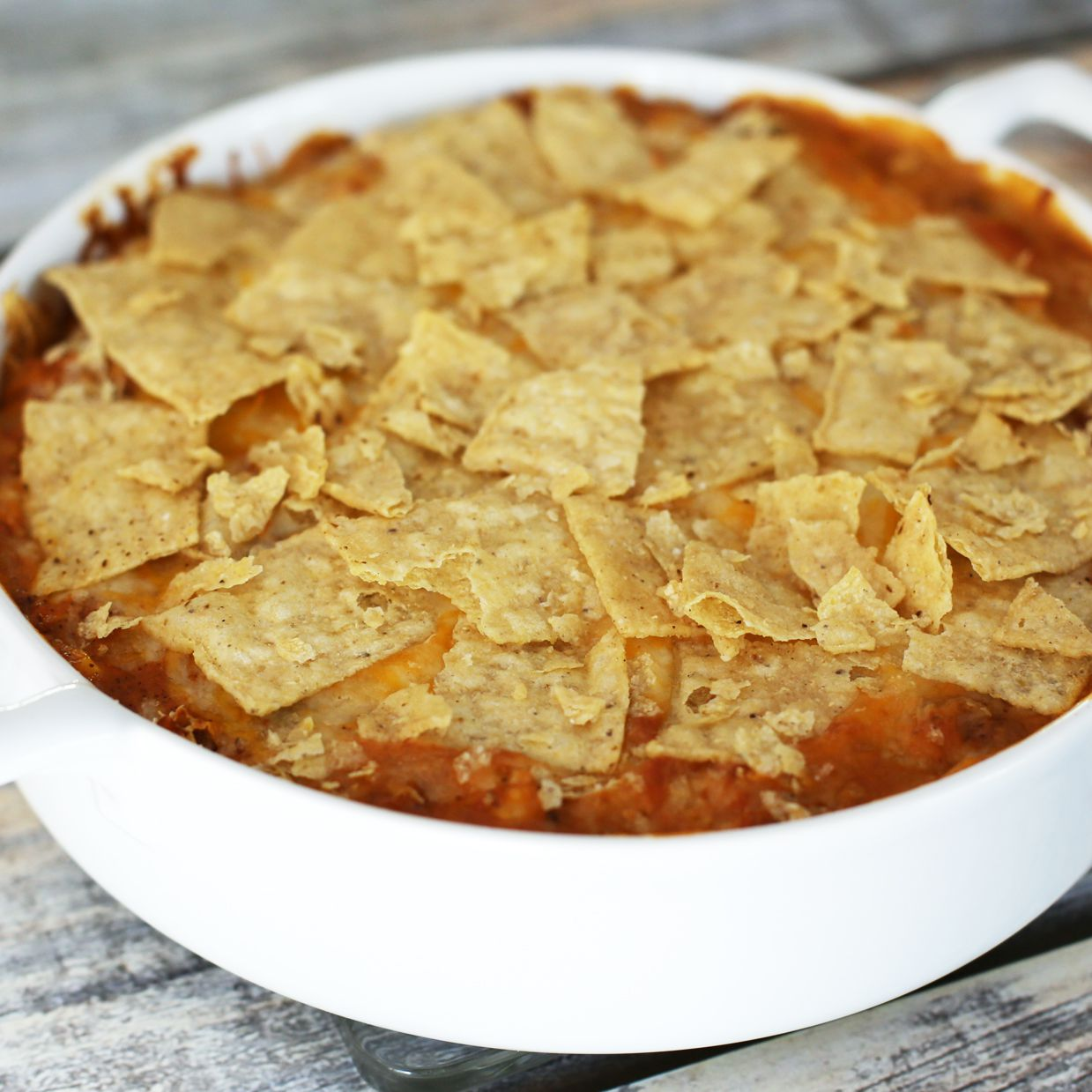 Mexican Chicken Casserole With Taco Sauce and Cheese