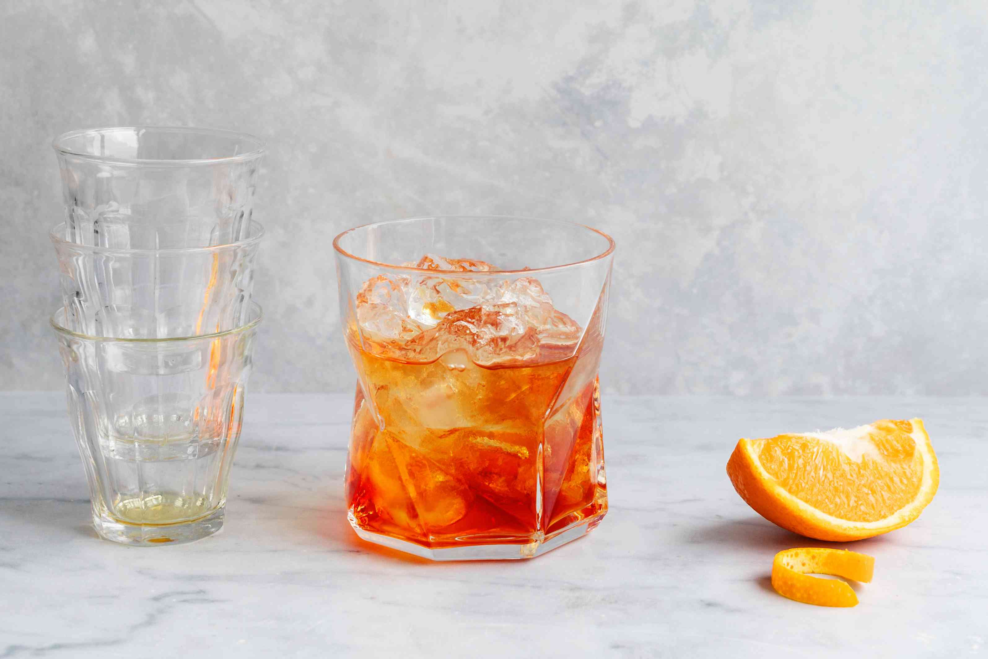 Negroni ingredients in glass