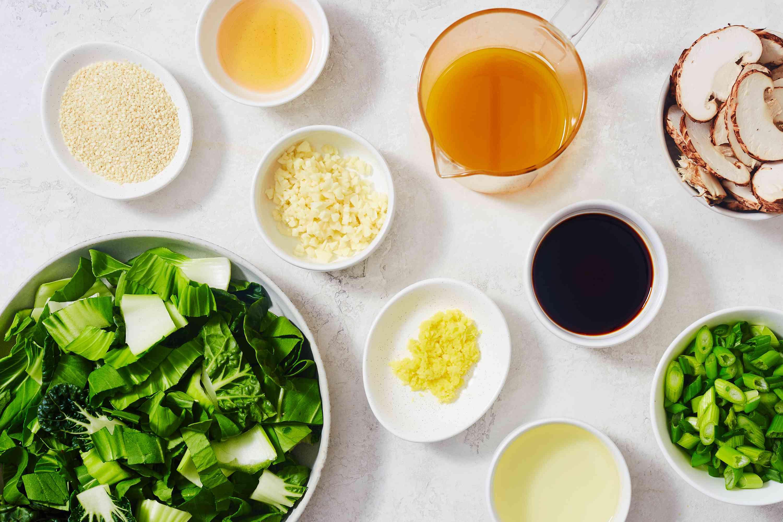 Ingredients for bok choy shiitake mushrooms