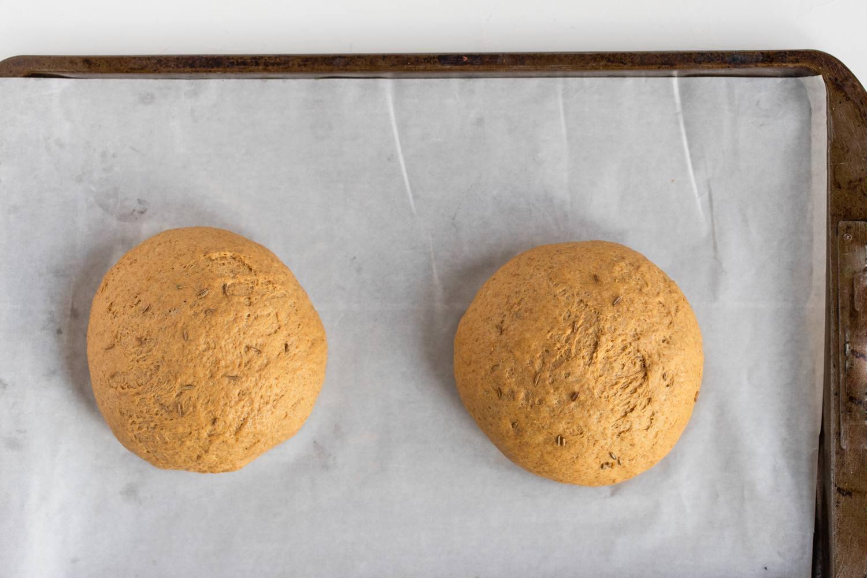 2 pumpernickel bread dough loafs
