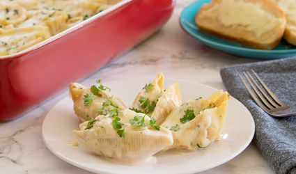 Baked Chicken Stuffed Shells With Alfredo Sauce
