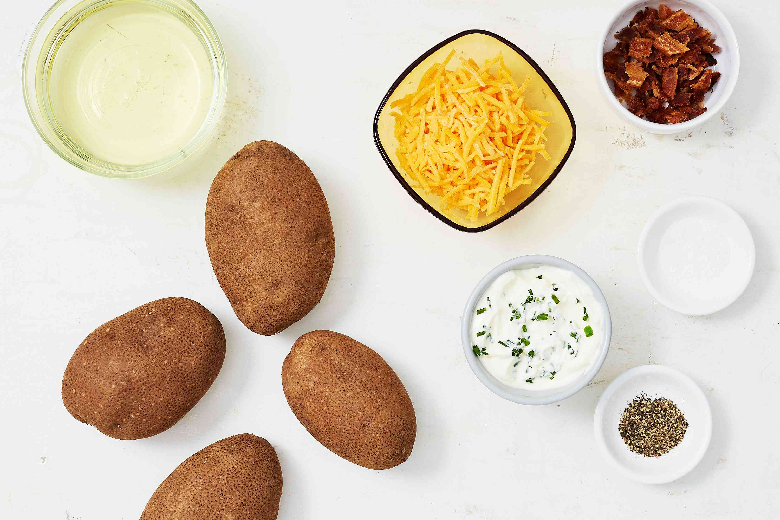 Deep-Fried Potato Skins With Dips and Toppings ingredients