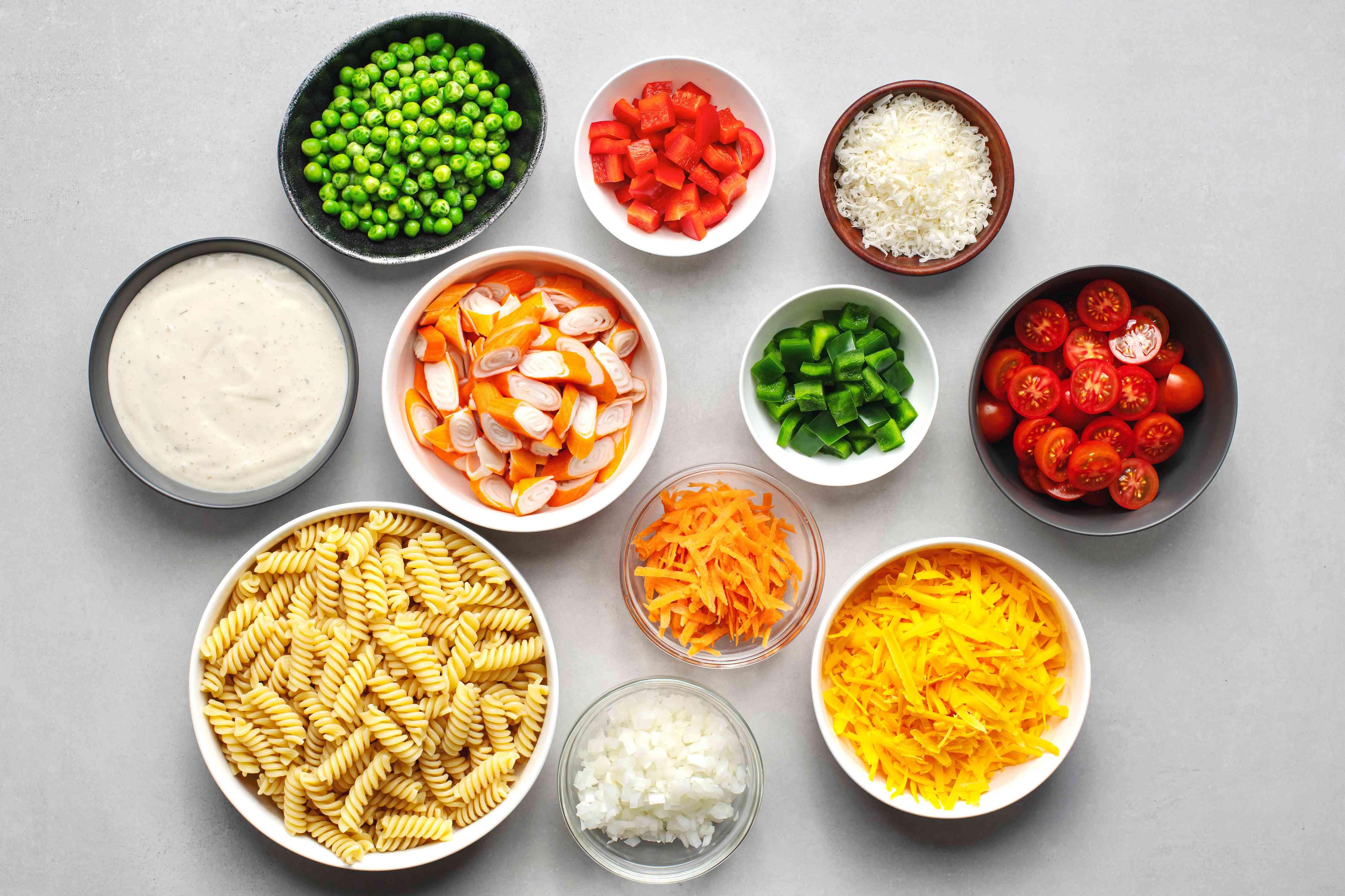 Summer Seafood Pasta Salad ingredients