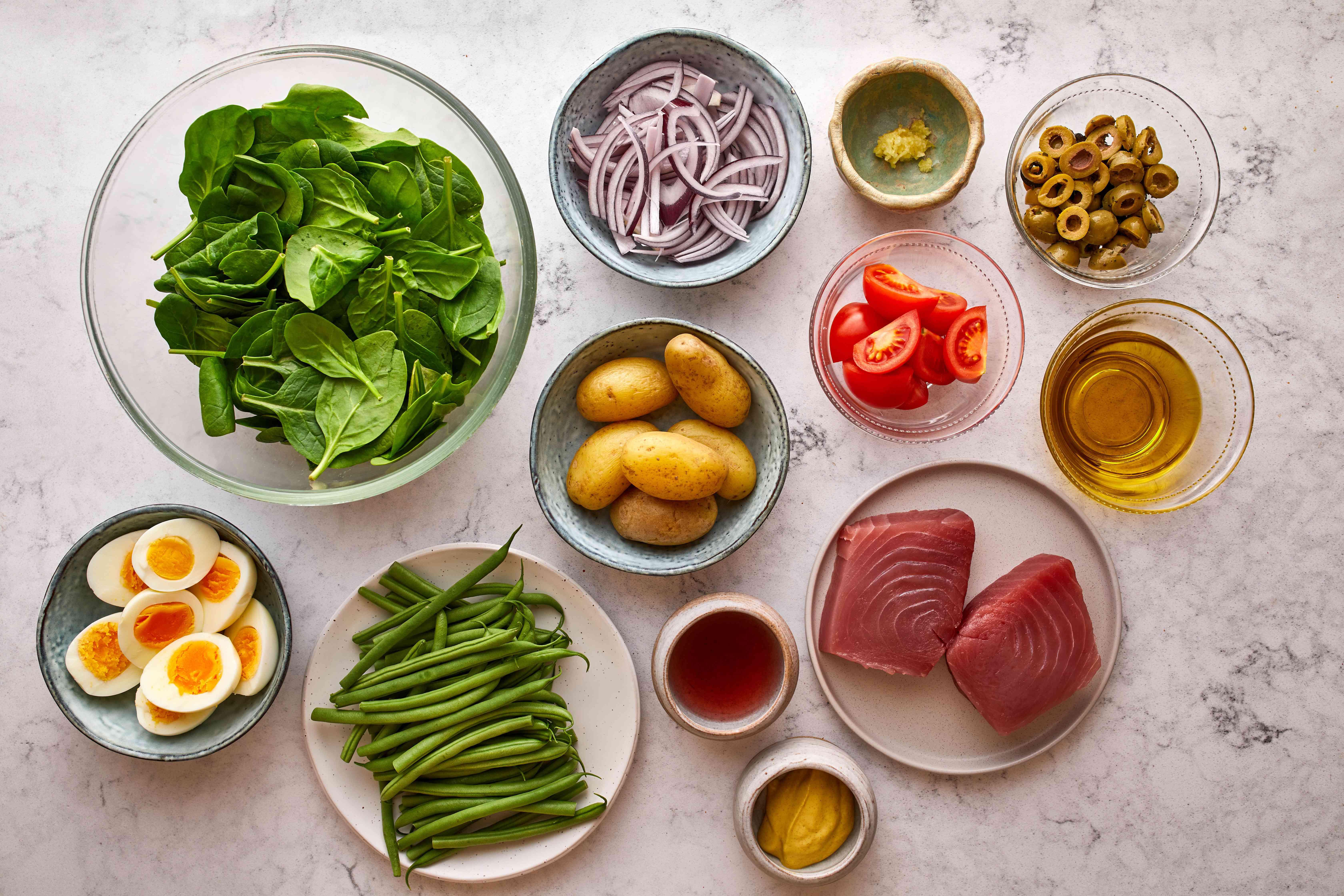 Nicoise salad ingredients