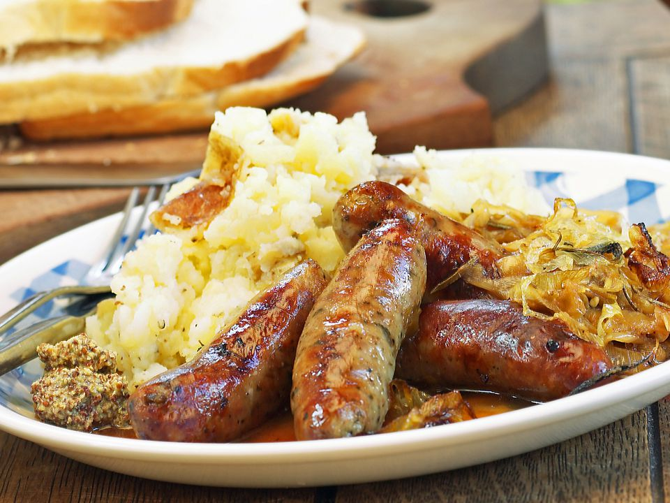 Traditional bangers and mash.
