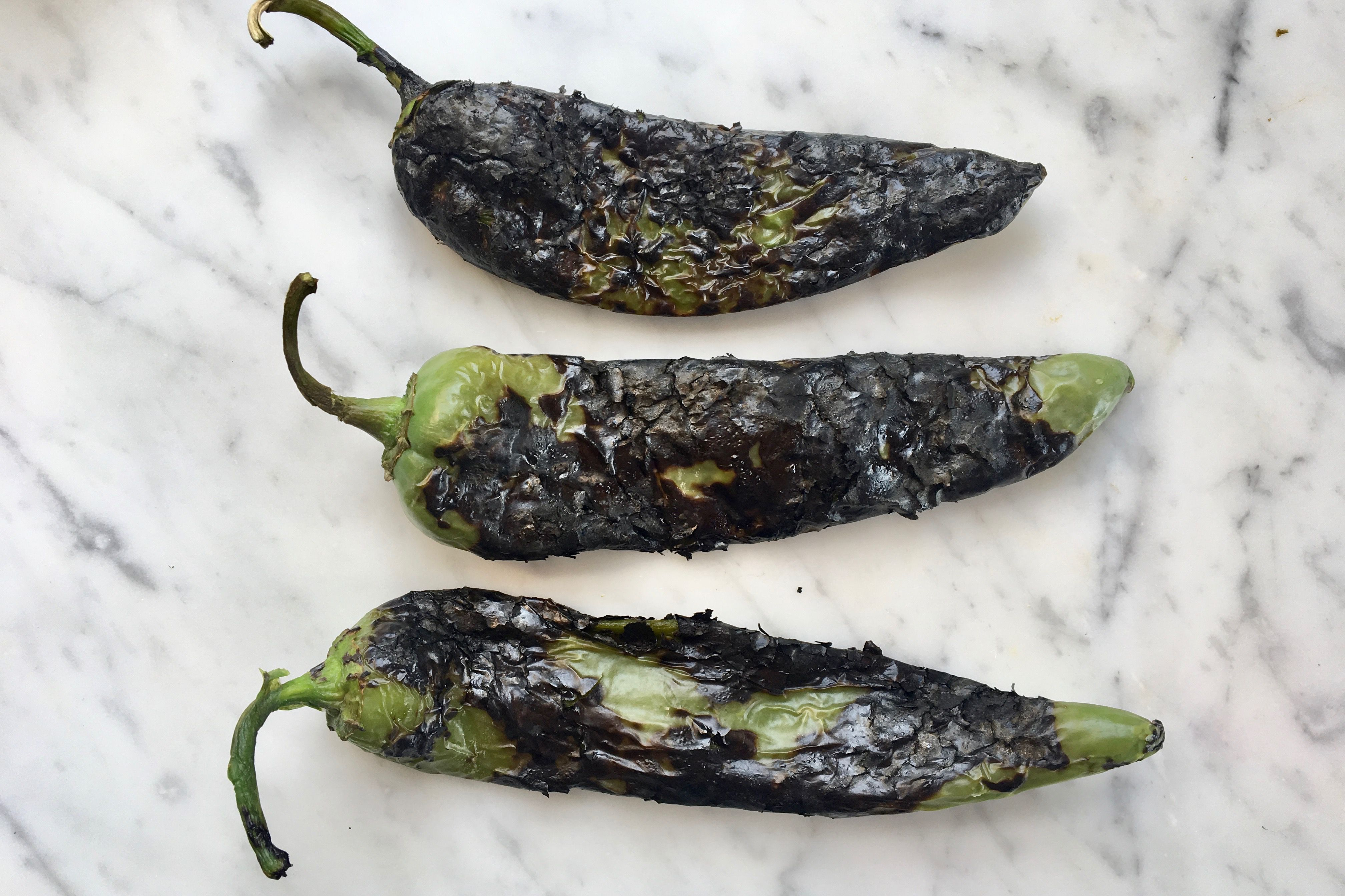 Roasted chiles to peel