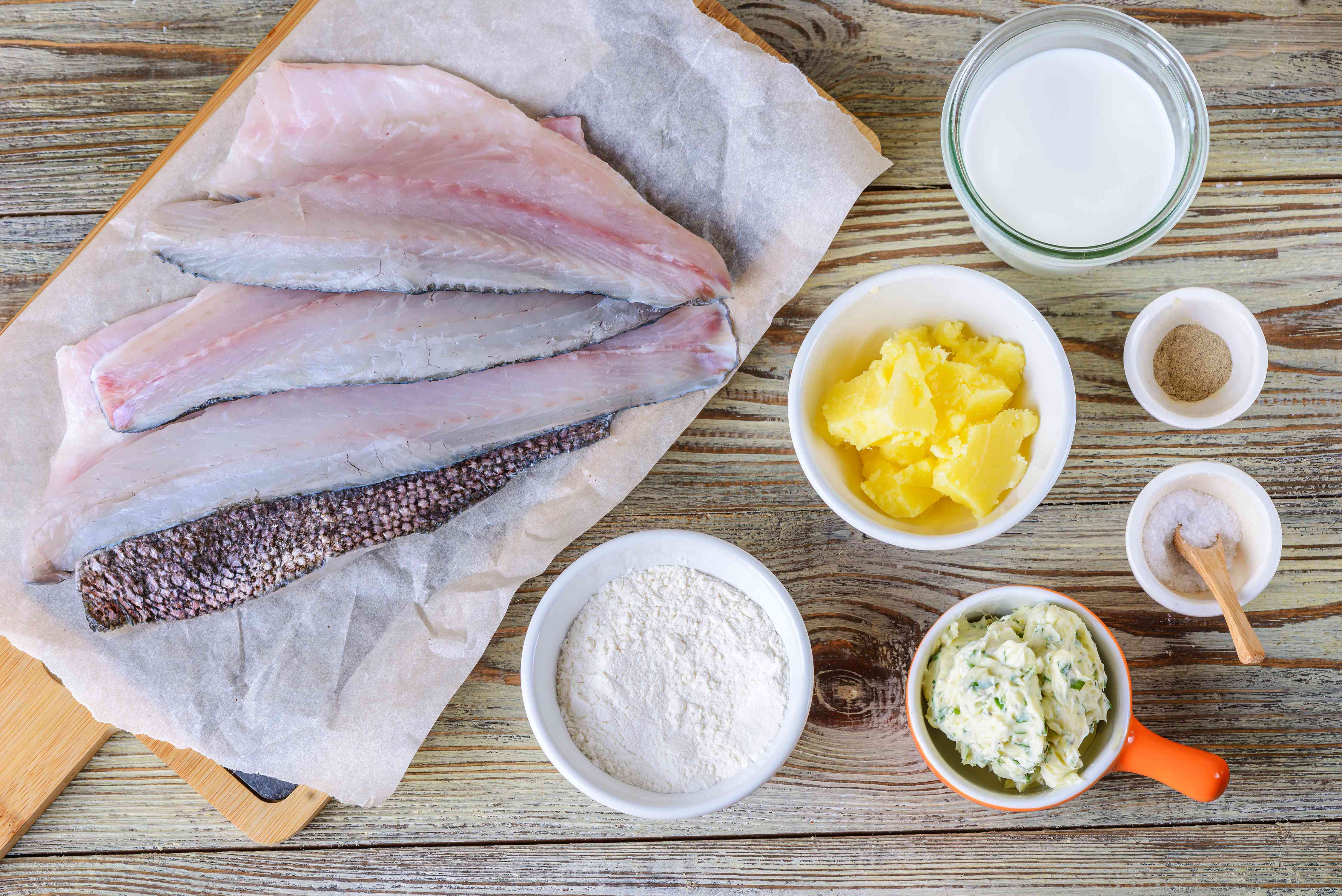 Ingredients for sauteed bass with lemon herb butter
