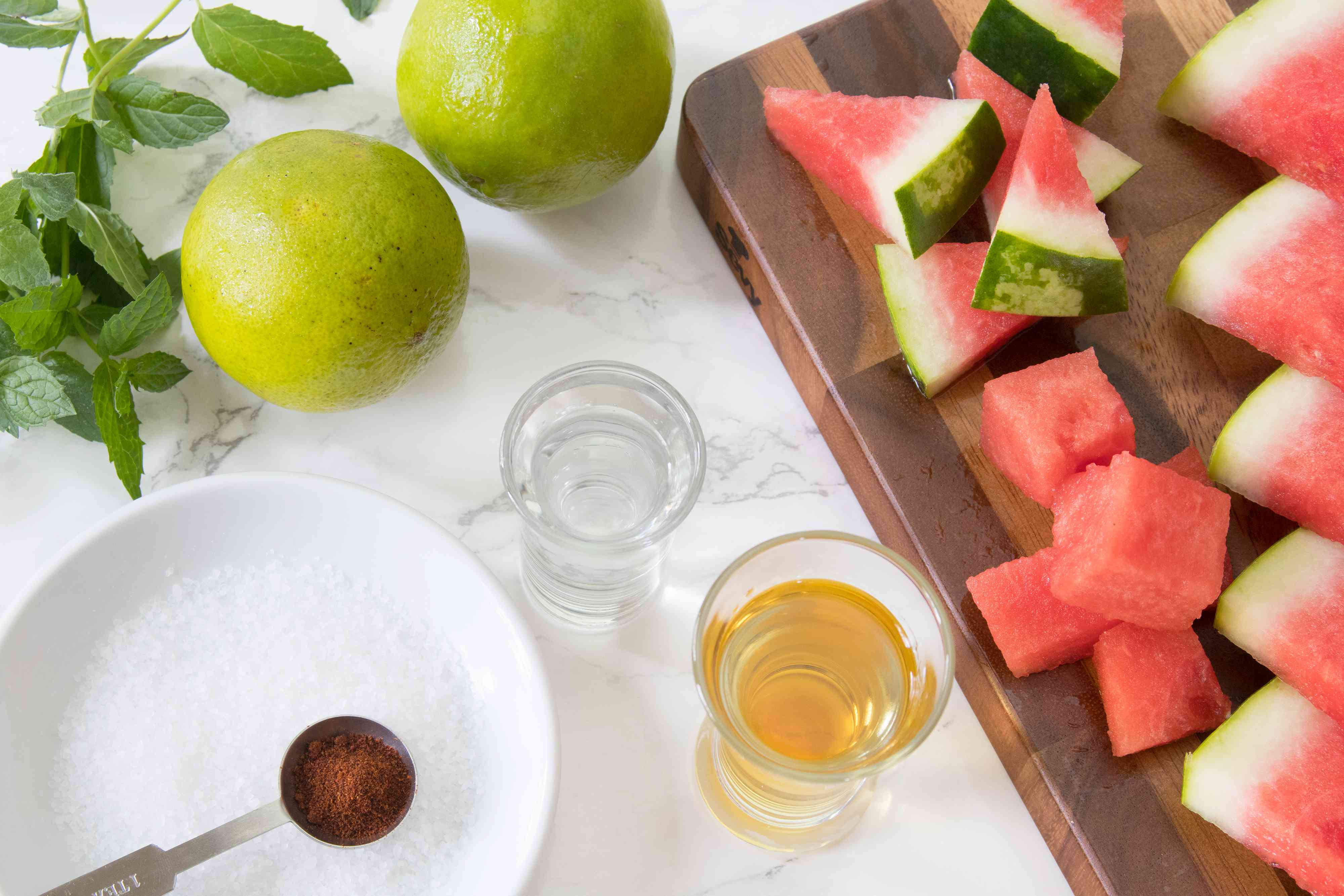 Ingredients for a Watermelon Margarita