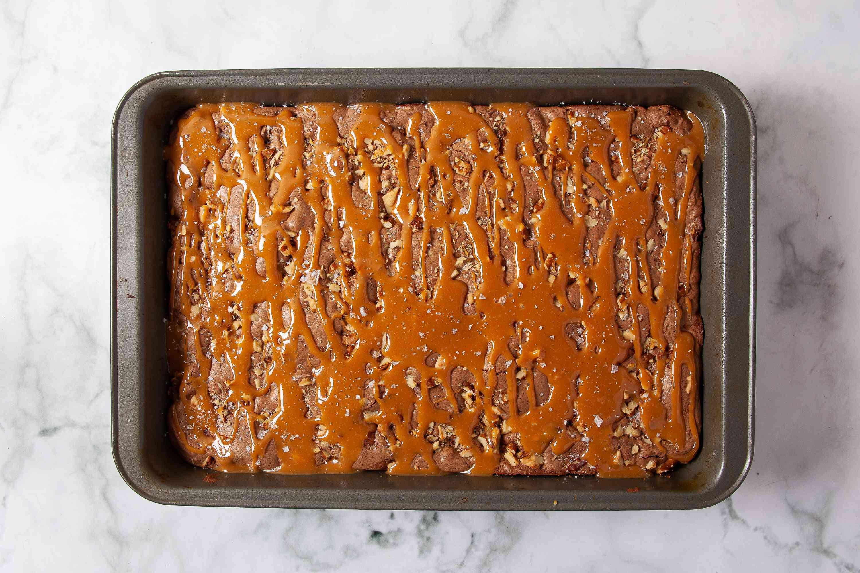 Caramel Brownies in a pan