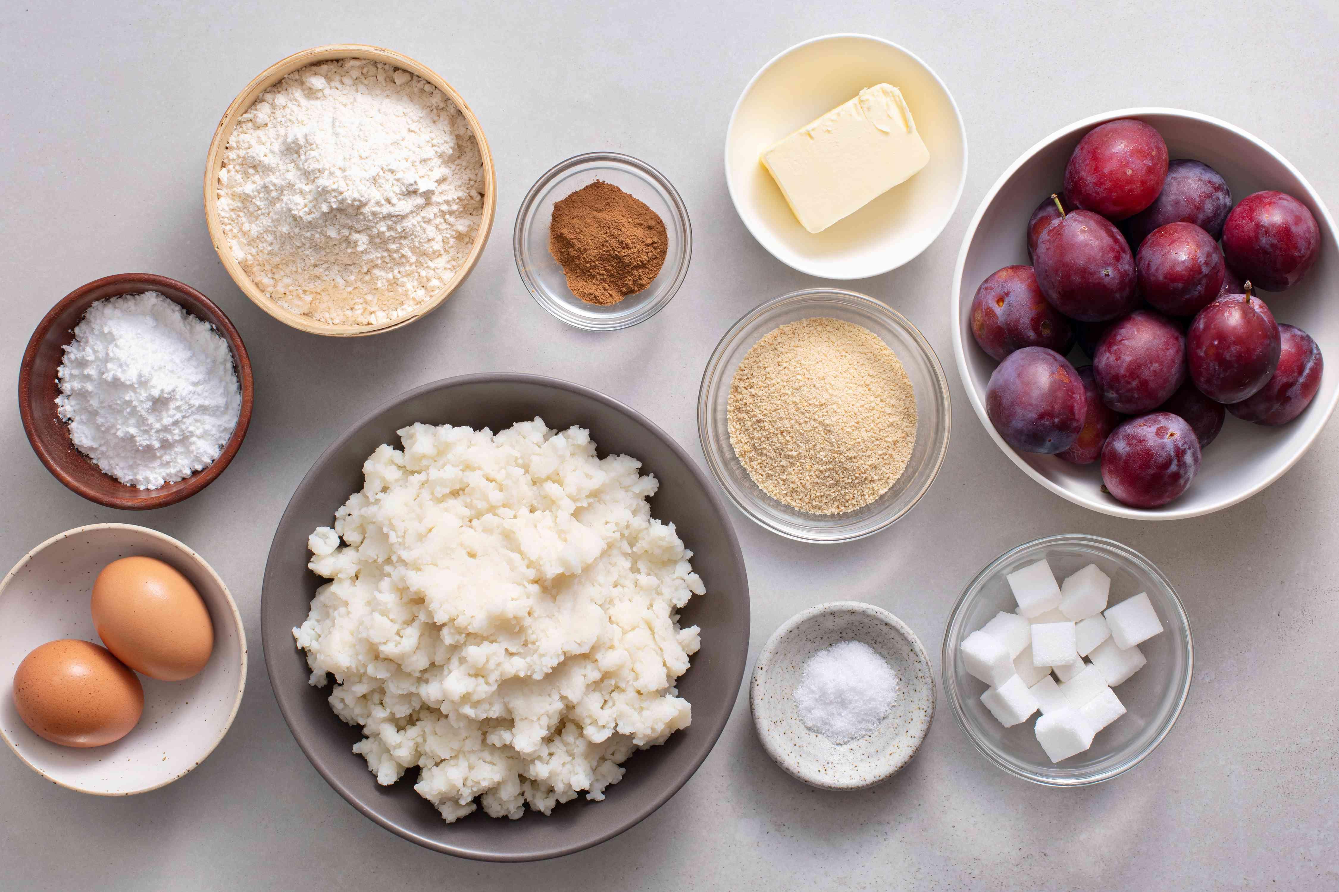 Croatian Plum Dumplings Recipe - Knedle s Sljivama ingredients