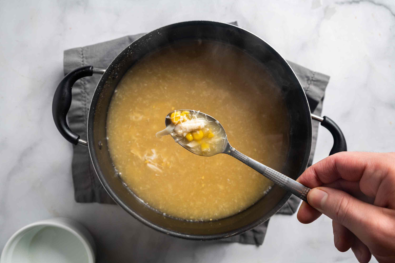 Cantonese Creamed Corn Soup in a pot