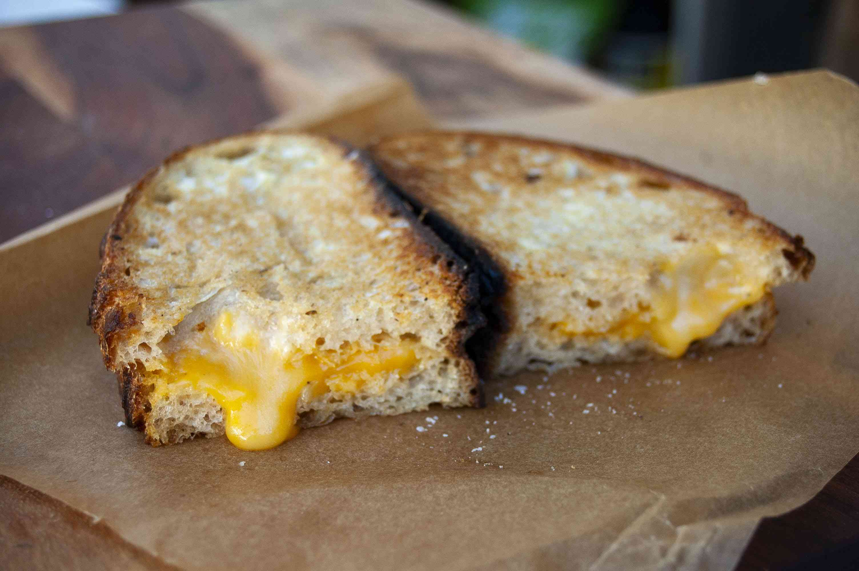 Grilled cheese sandwich made with mayonnaise instead of butter